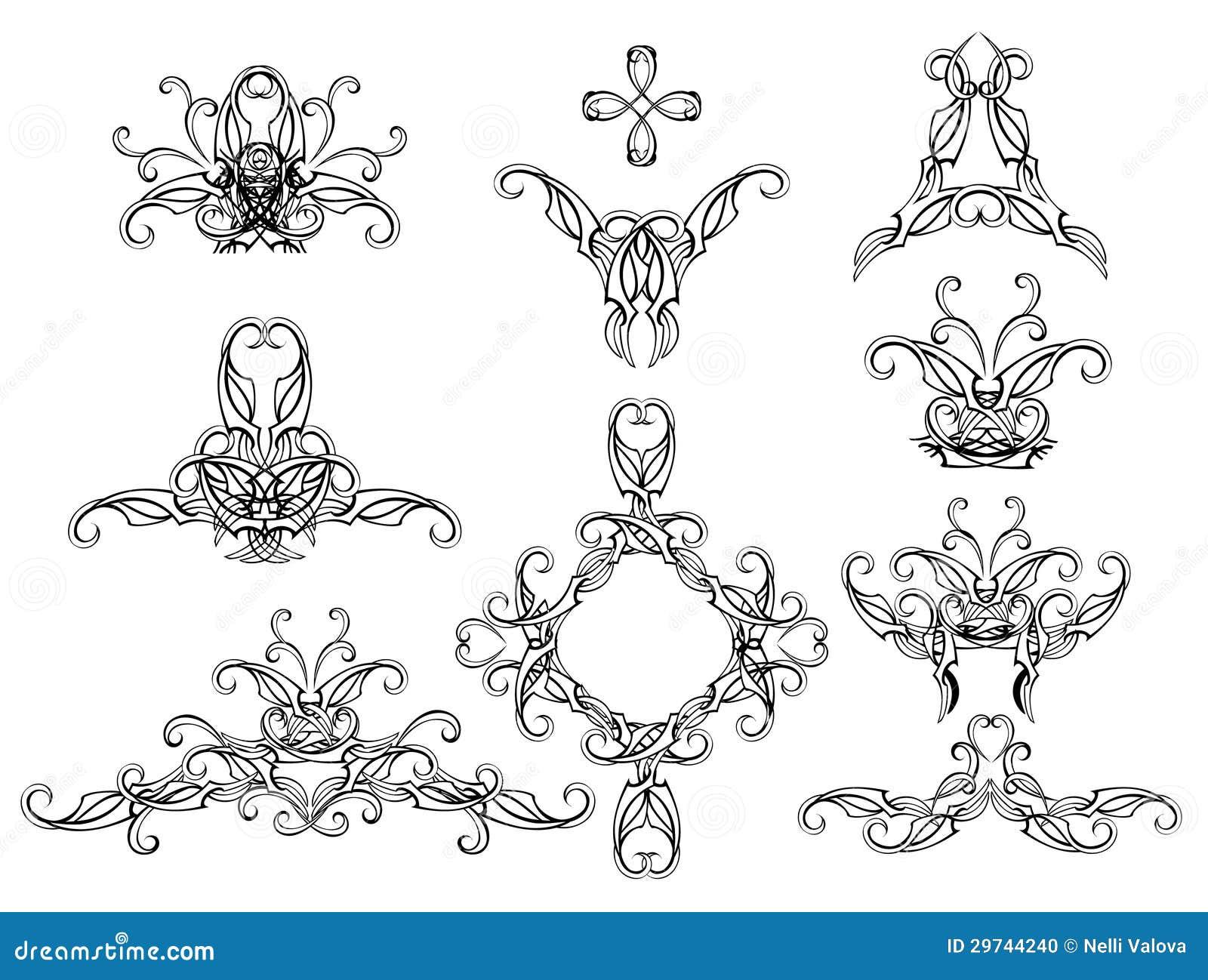 Set Of Filigree Patterns Stock Photo Image 29744240