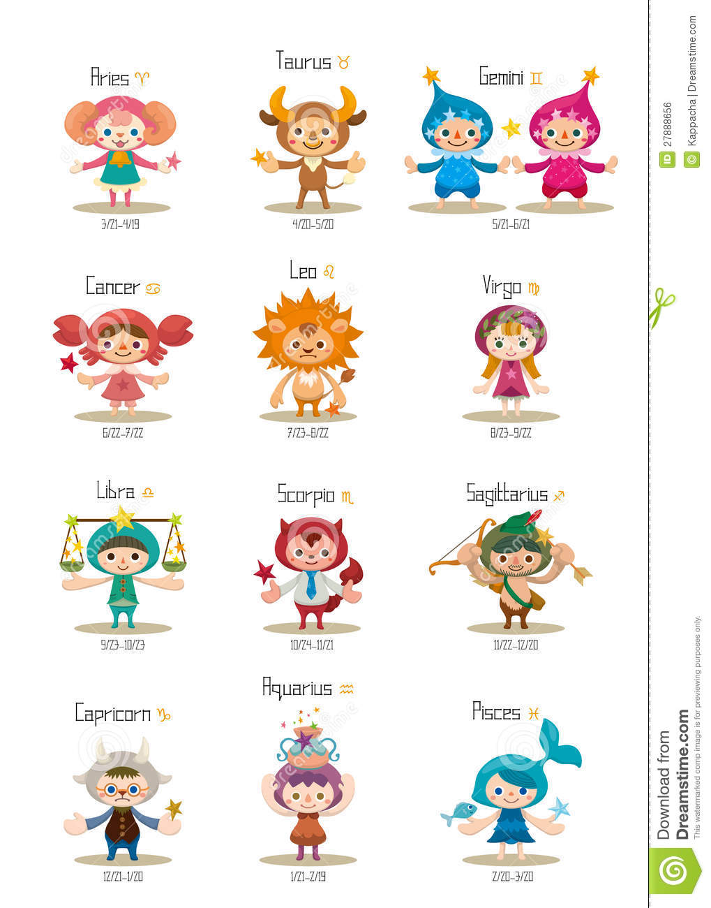 Set Of Isolated Cute Zodiac Symbols Royalty Free Stock Image - Image ...
