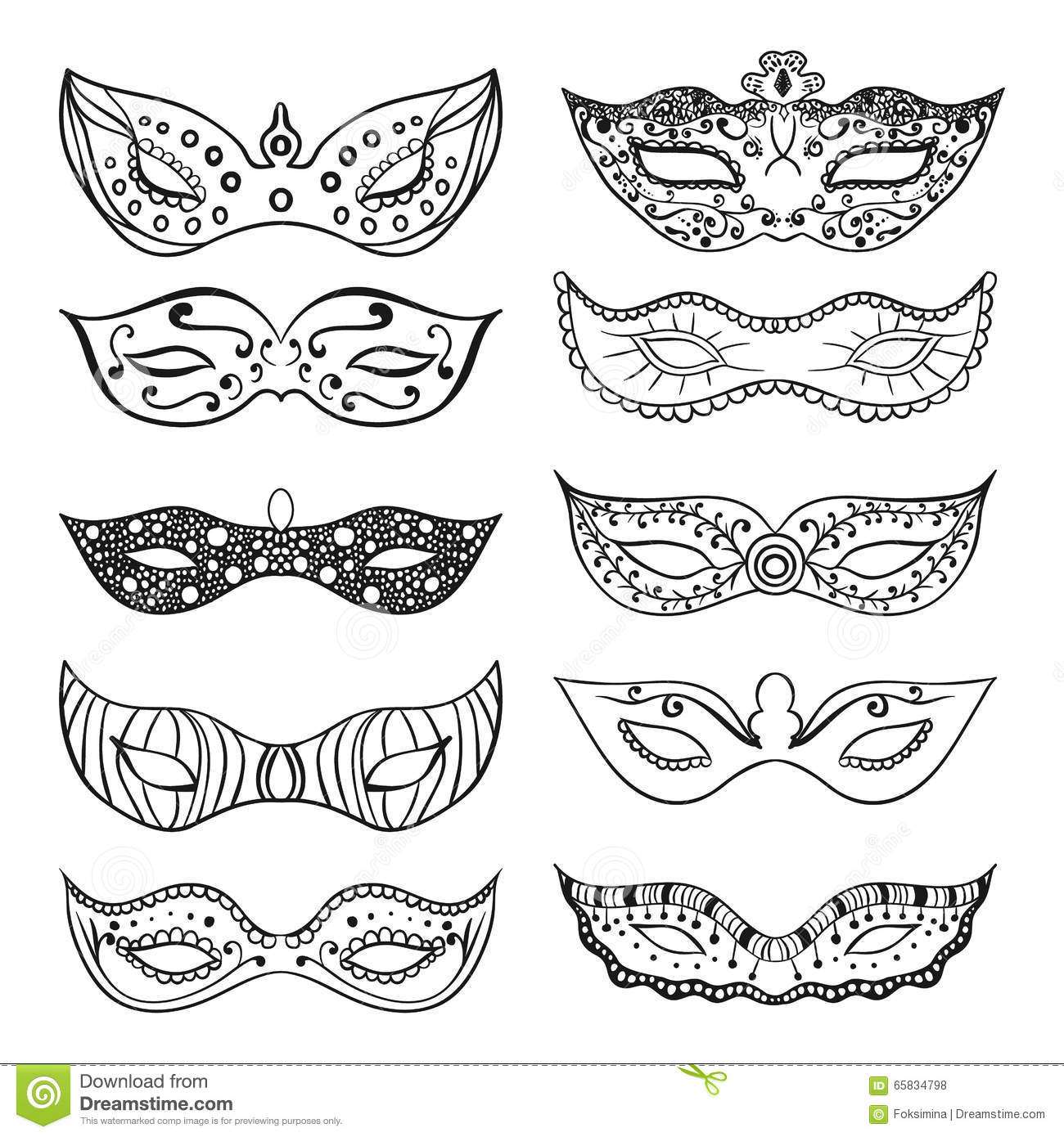 Wonderful Download Set Of Isolated Festive Black Hand Drawn Mask Silhouette On The  White Background. Mardi