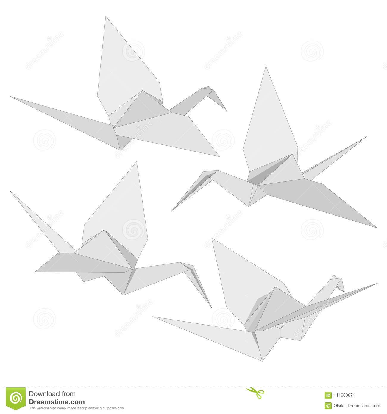 set of isolated figure of japanese crane folded from white paper in origami style on white background symbol of hope various views