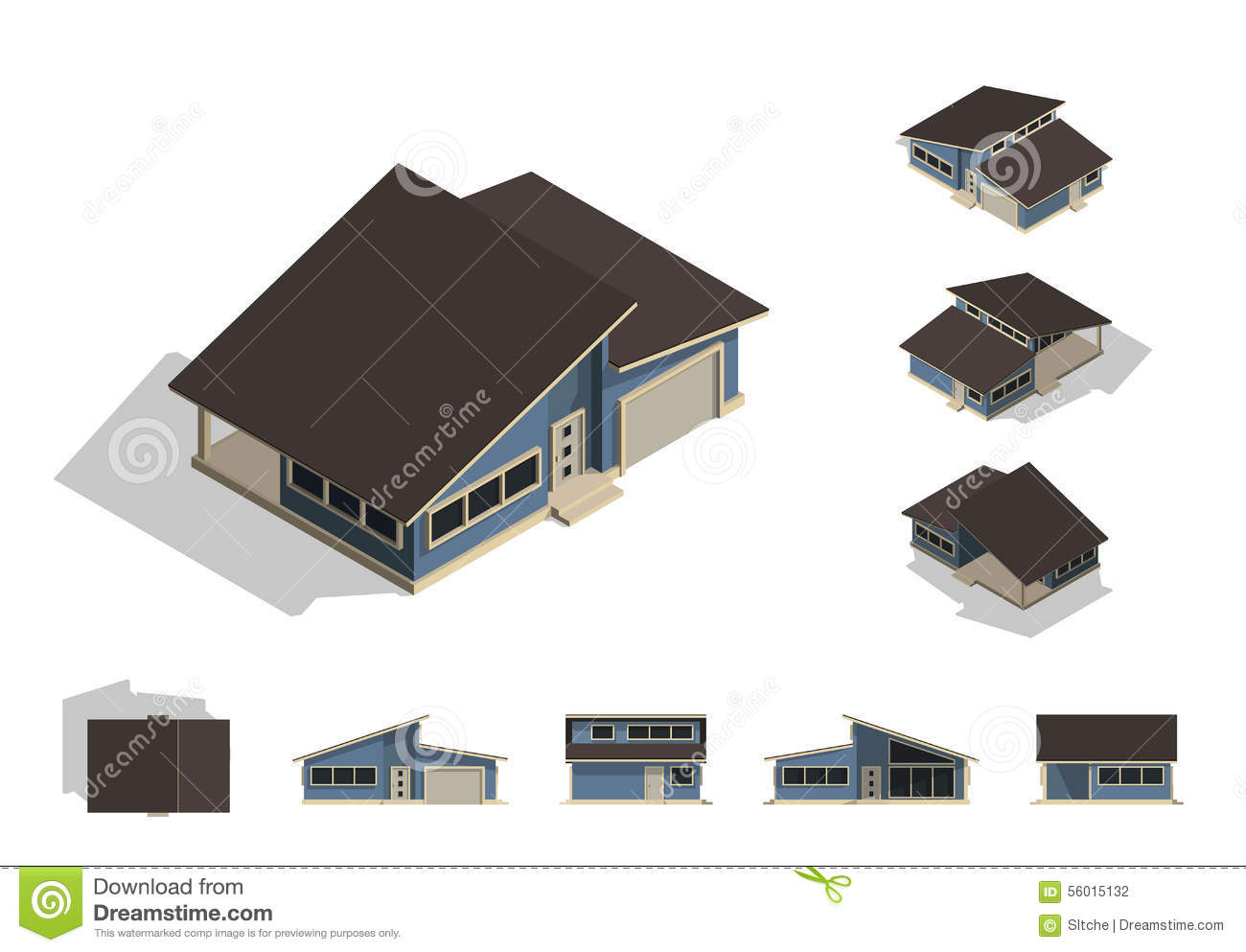 Set of isolated house building kit creation detailed for Home design front side