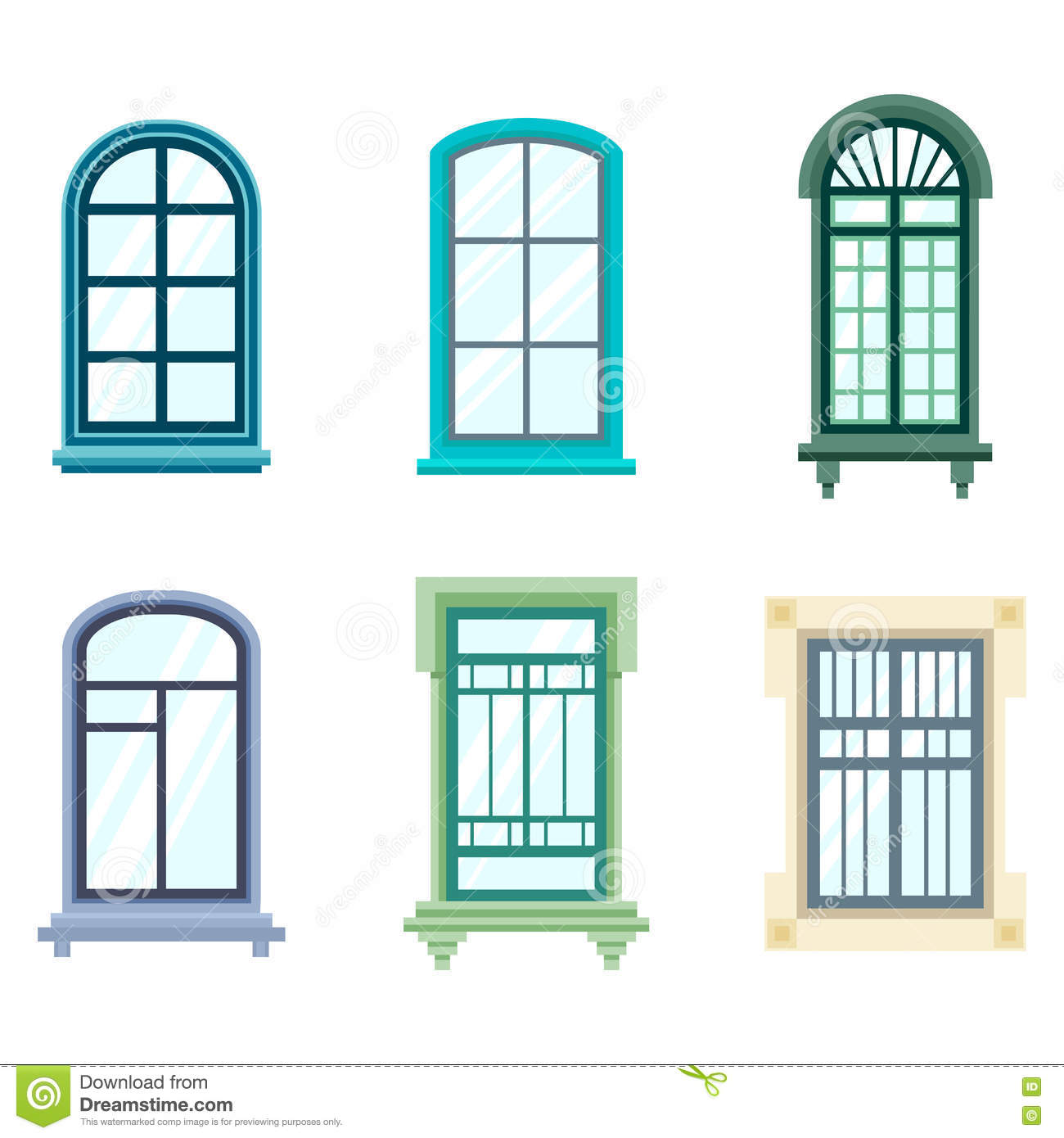 Set Of Isolated House Window Frames Stock Vector Illustration Of Plastic Frame 80757649