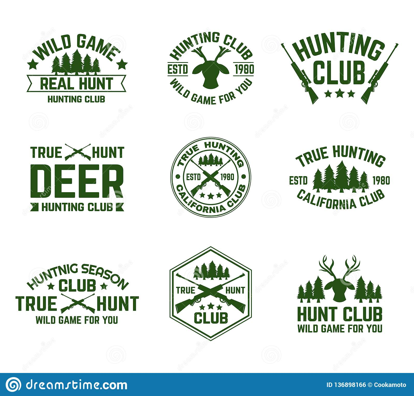 Set Of Isolated Hunting Emblems With Deer And Guns Stock Vector