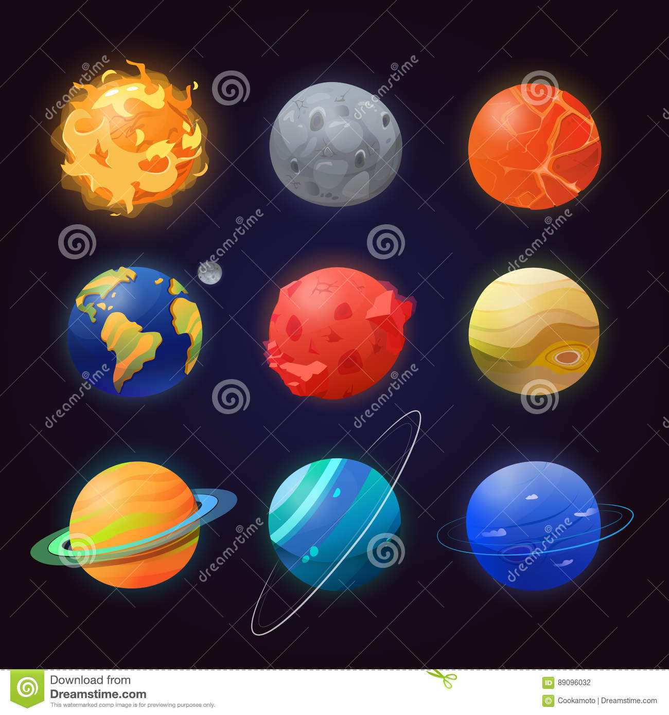 Set of isolated solar system planets and sun.