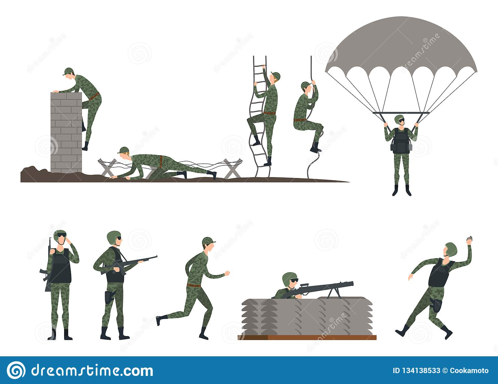 Set Of Isolated Soldiers Doing Exercises  Military Stock