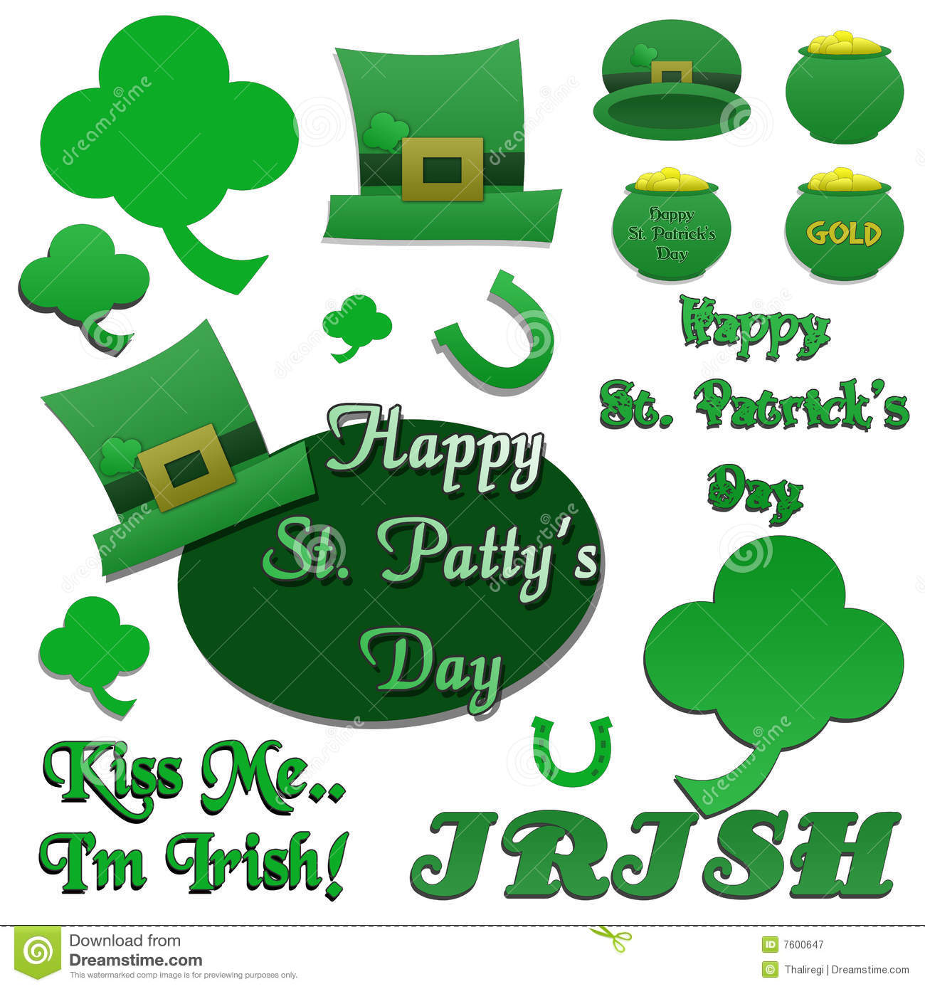 Set Of Isolated St Patrick's Day Clip-Art Royalty Free Stock ...