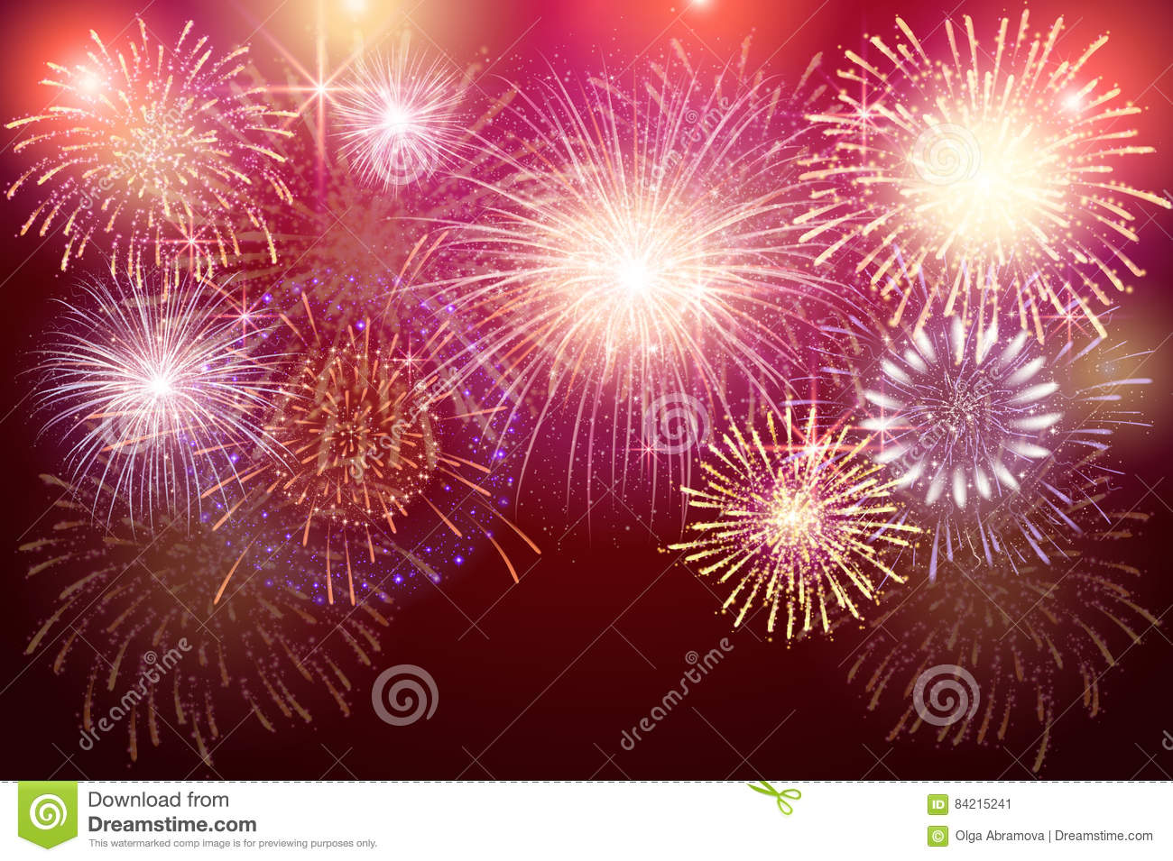 Set Of Isolated Vector Fireworks On A Transparent Background. Stock ...