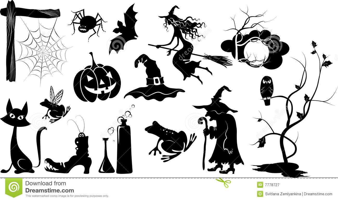 set of isolated vector halloween silhouettes stock vector rh dreamstime com Cat Halloween Window Silhouette Templates Halloween Silhouette Patterns