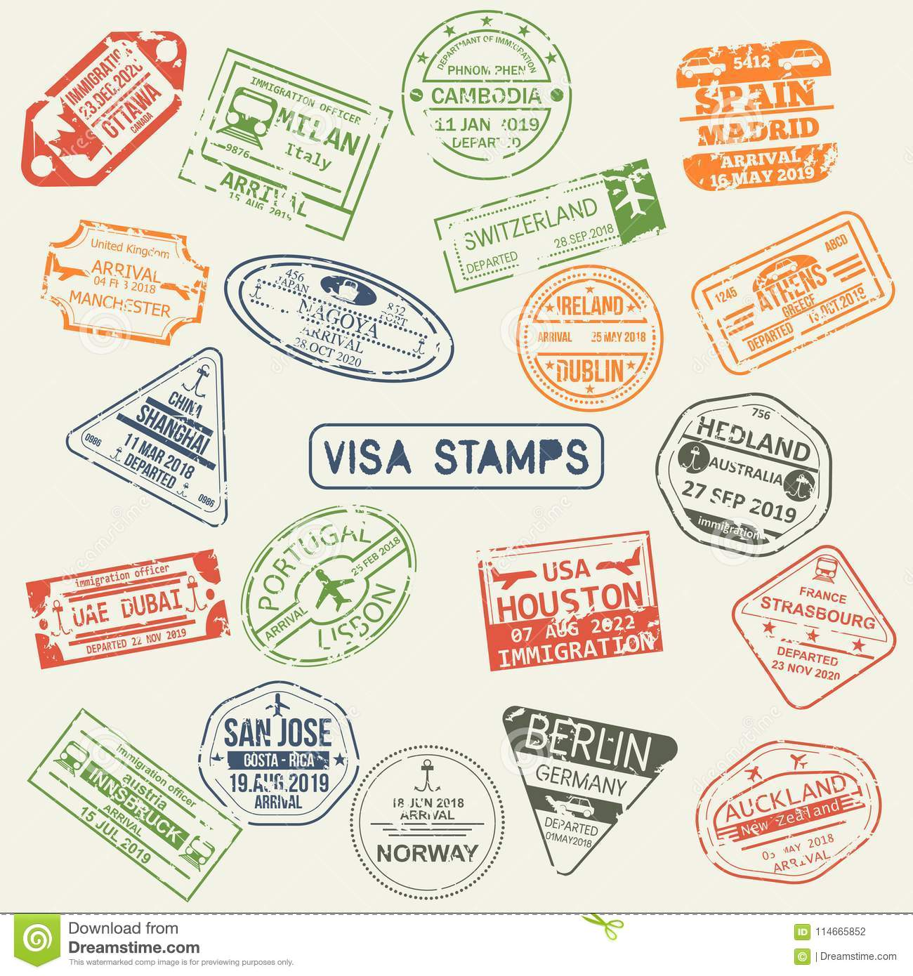 Set of isolated visa passport stamps