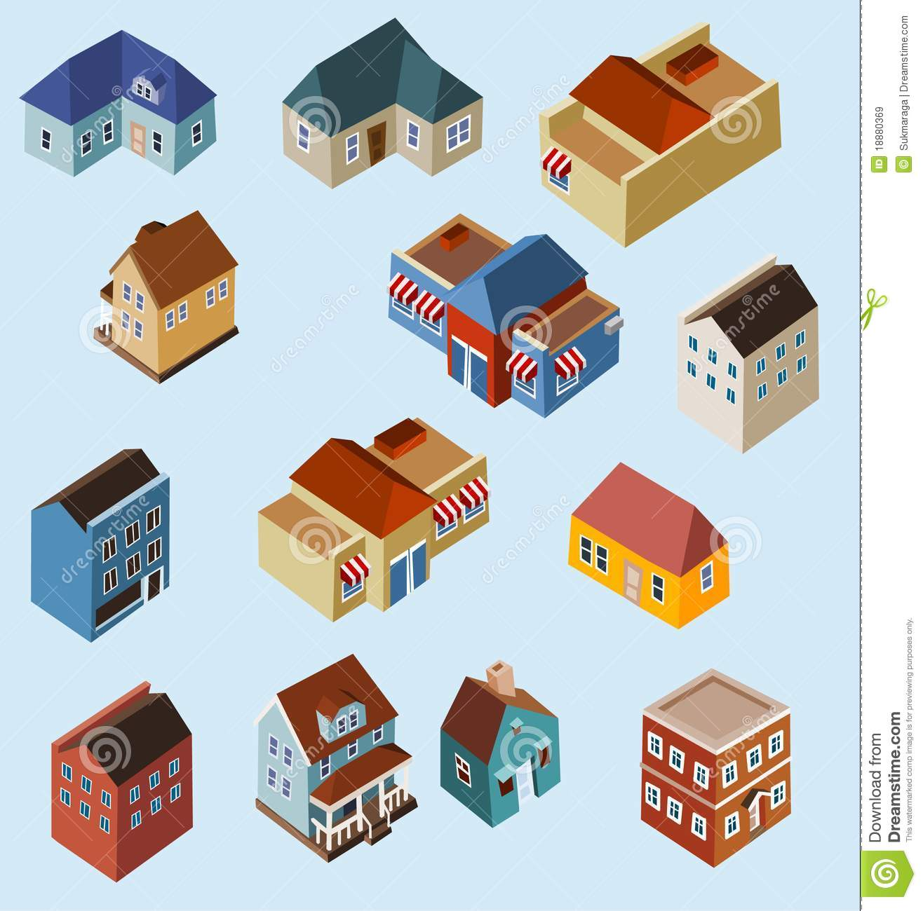 set of isometric buildings stock vector  image of property