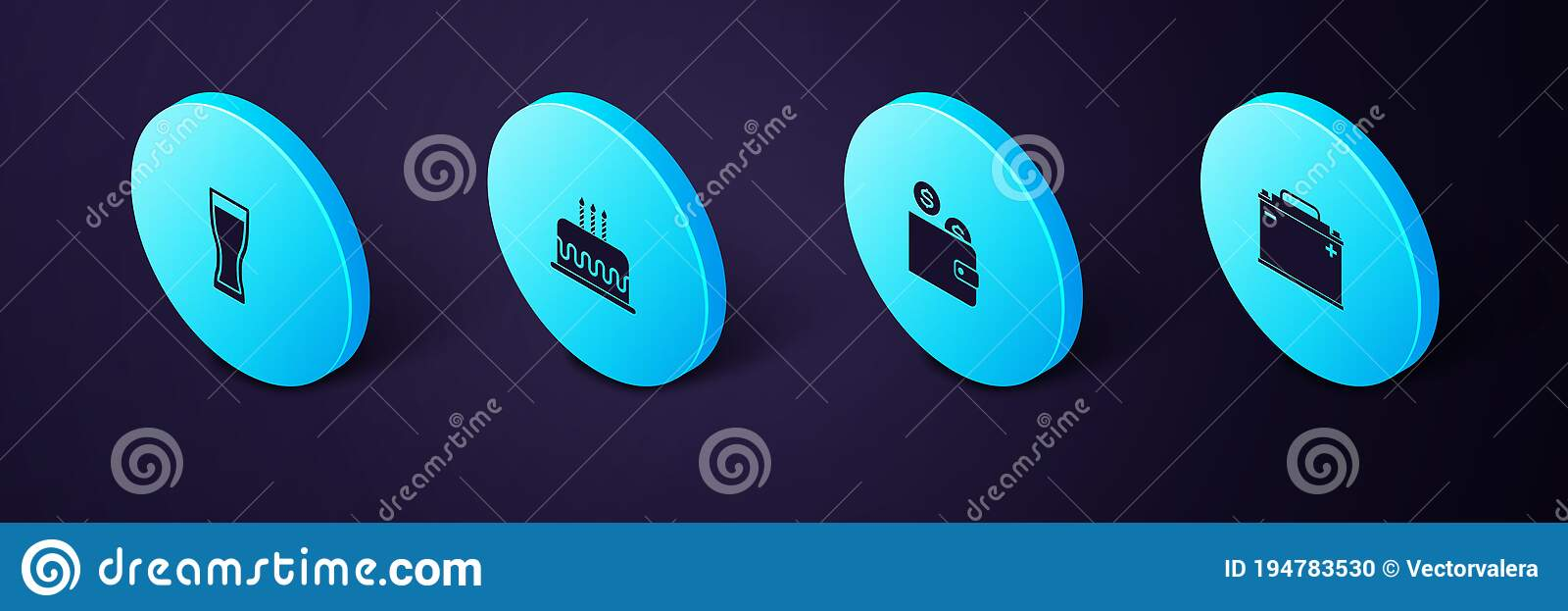 Set Isometric Car Battery Wallet With Coin Cake Burning Candles And Glass Of Beer Icon Vector Stock Vector Illustration Of Glass Drink 194783530