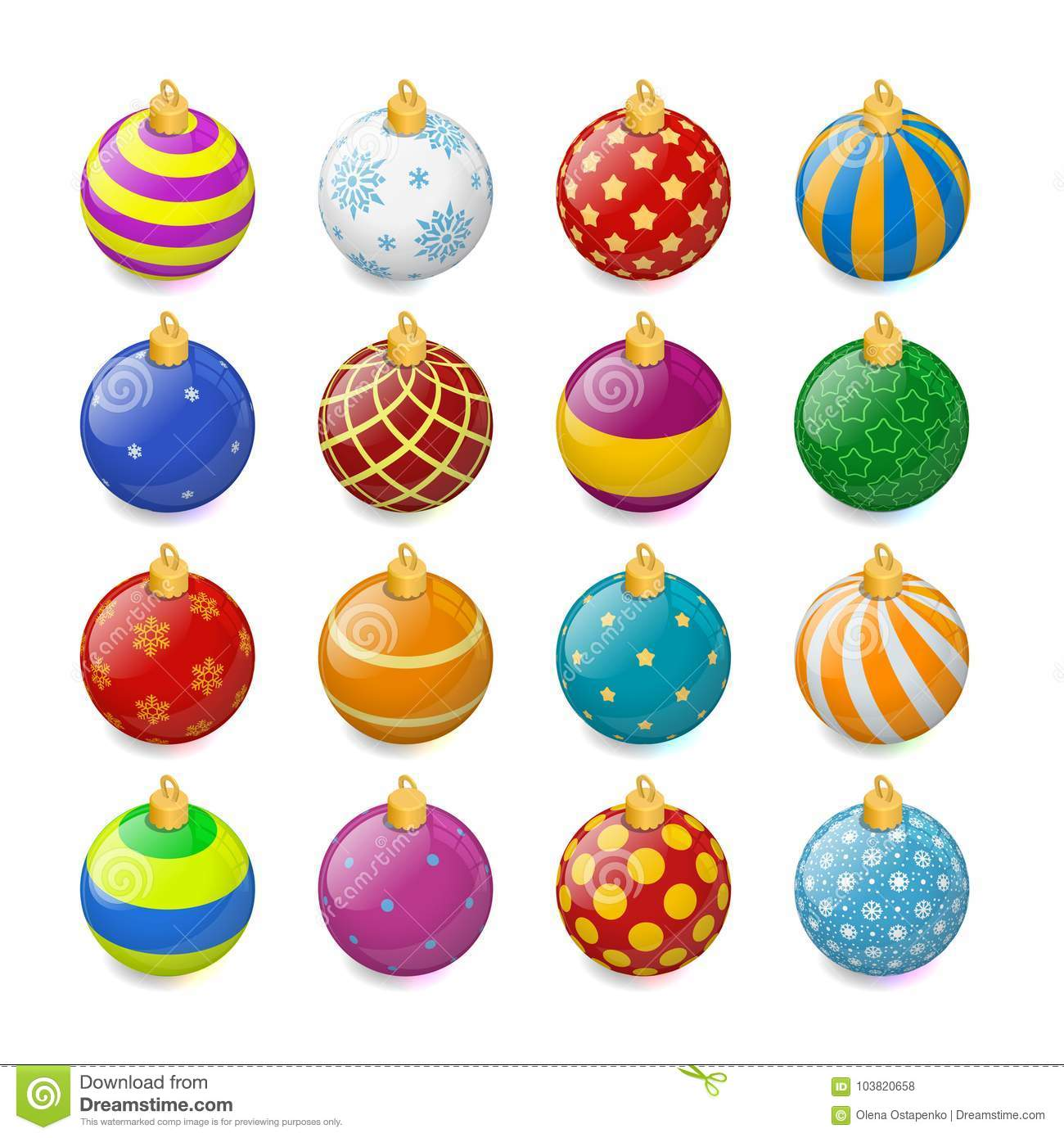 Download Set Of Isometric Color Christmas Balls On A Transparent Background Stocking Decorations