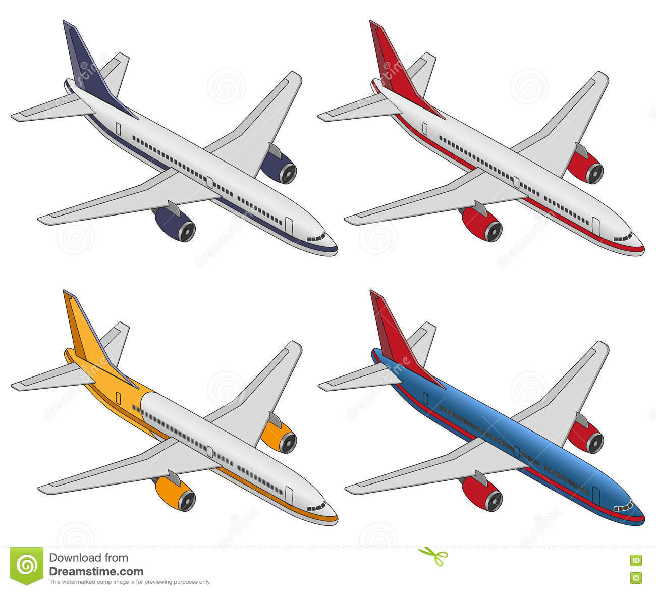 Uncategorized Plane Color set isometric color plane on a white background stock vector background