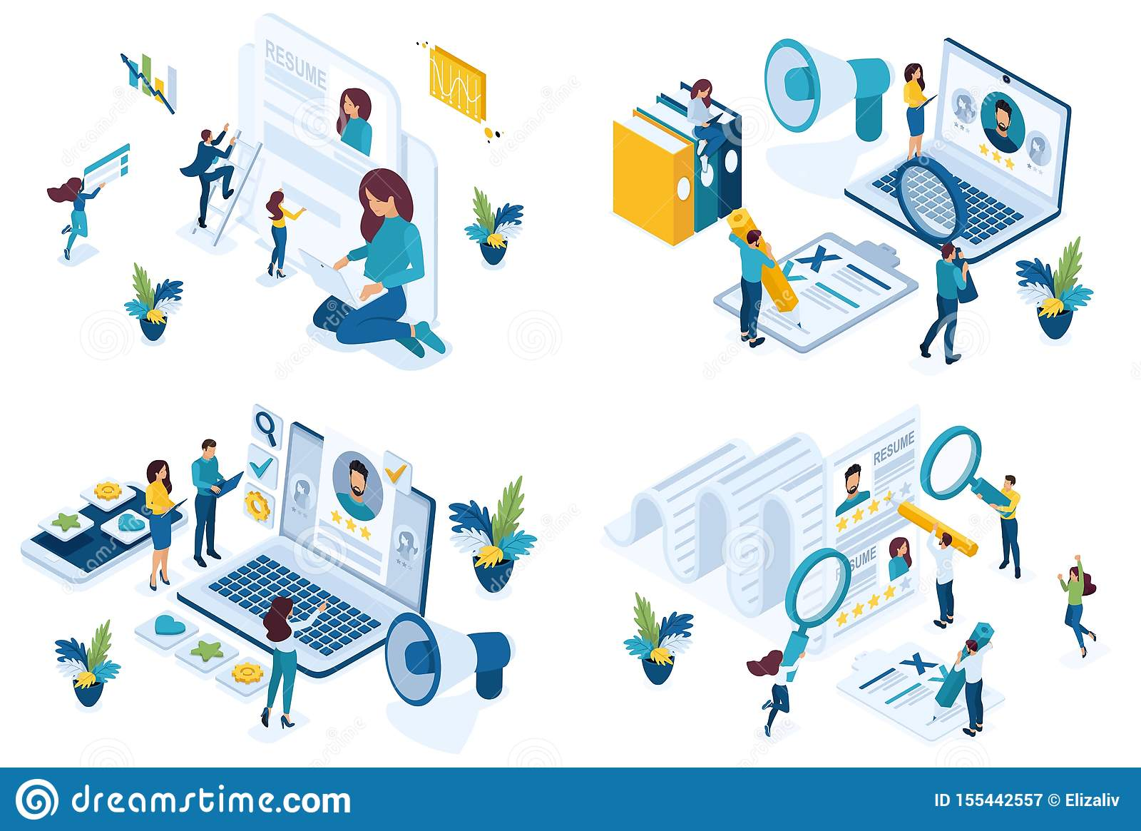 Set isometric concept job search applicant, resume writing, HP Manager, recruiters looking for employees. For