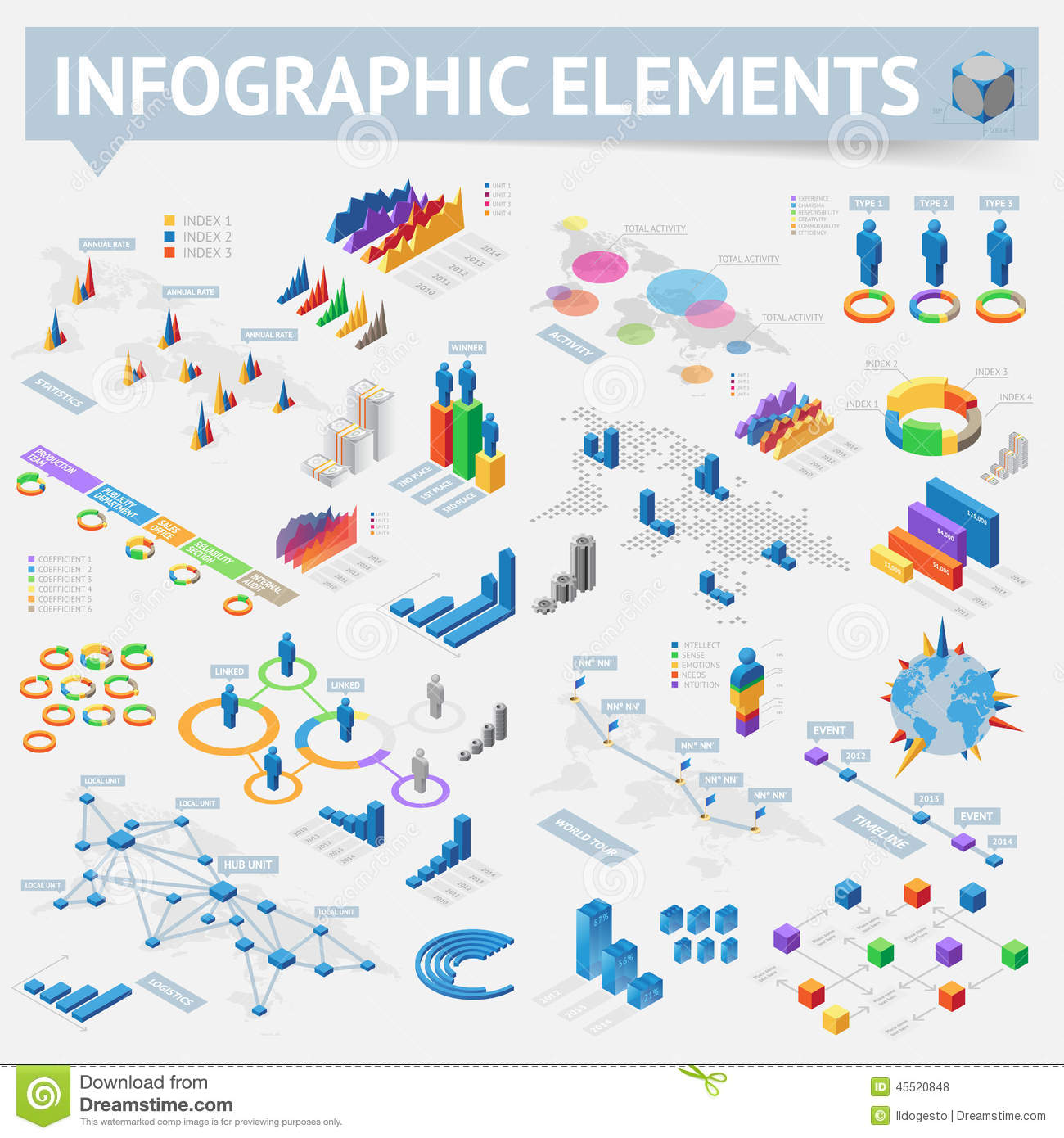 Set Of    Isometric    Infographics Design Elements Stock Vector  Illustration of people  report