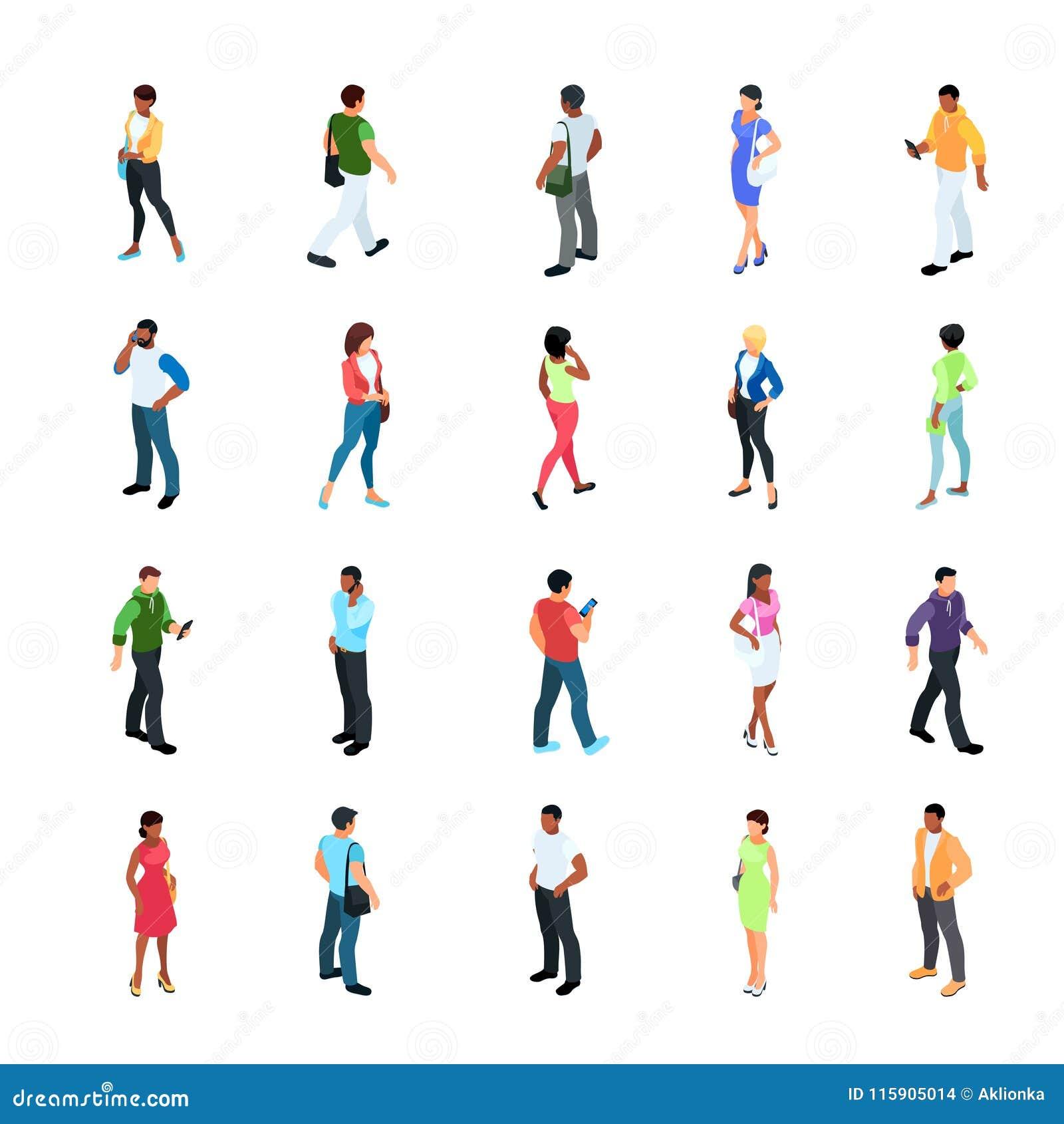 Set isometric ludzie z różnym kolorem skóry