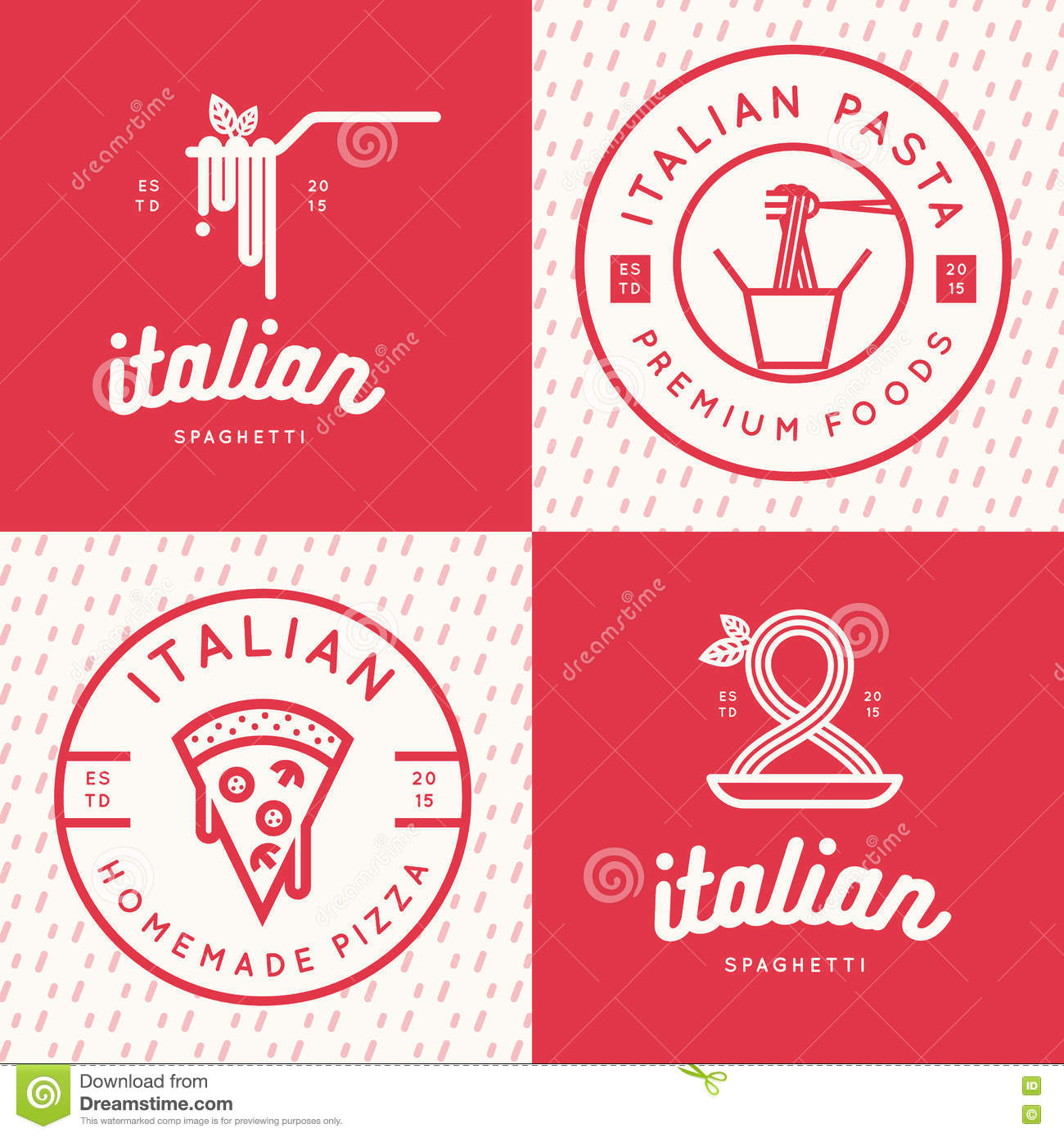 Set Of Italian Food Logo Badges Banners Emblem For Fast Food Pizza Spaghetti Pasta Restaurant Stock Vector Illustration Of Badge Fork 76313555