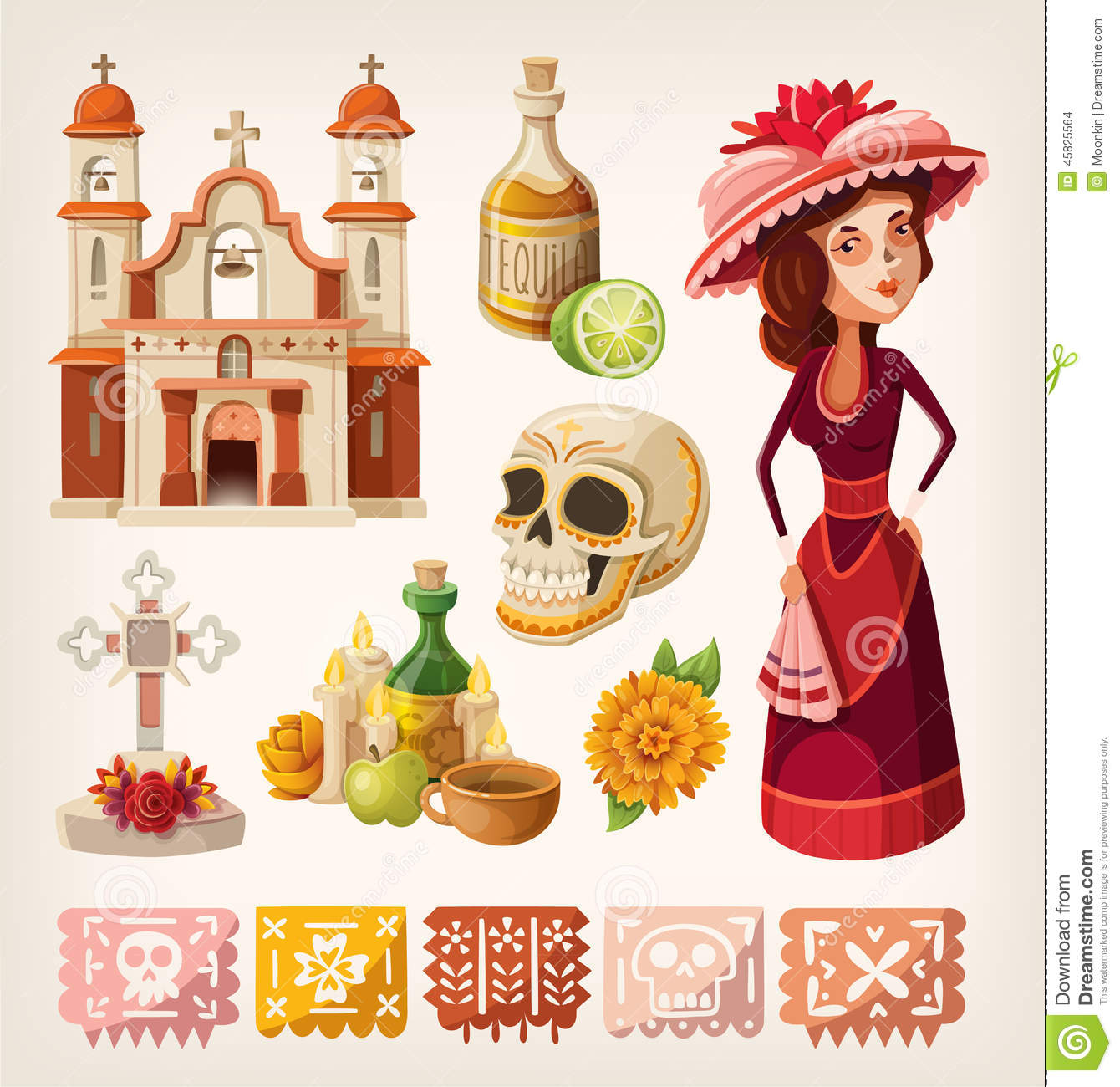 Set Of Items For Day Of The Dead Stock Vector - Illustration