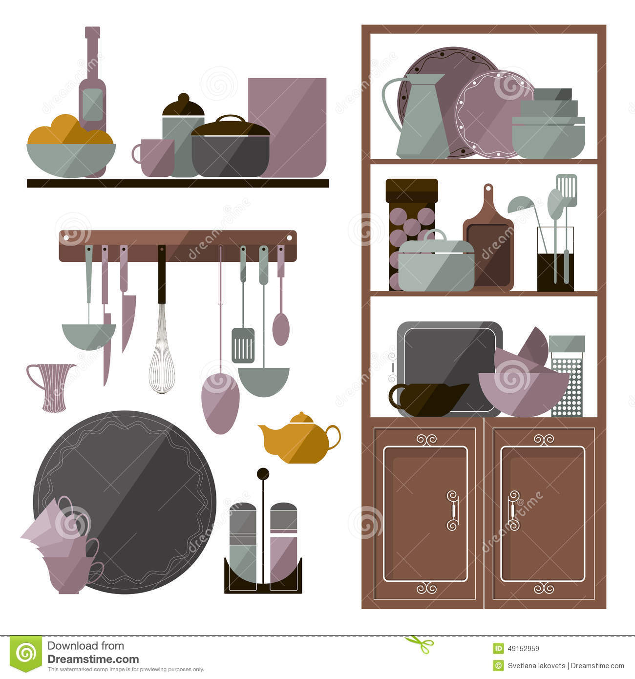 Cartoon Kitchen Furniture: Set Of Kitchen Furniture. Kitchen Items. Cartoon Vector
