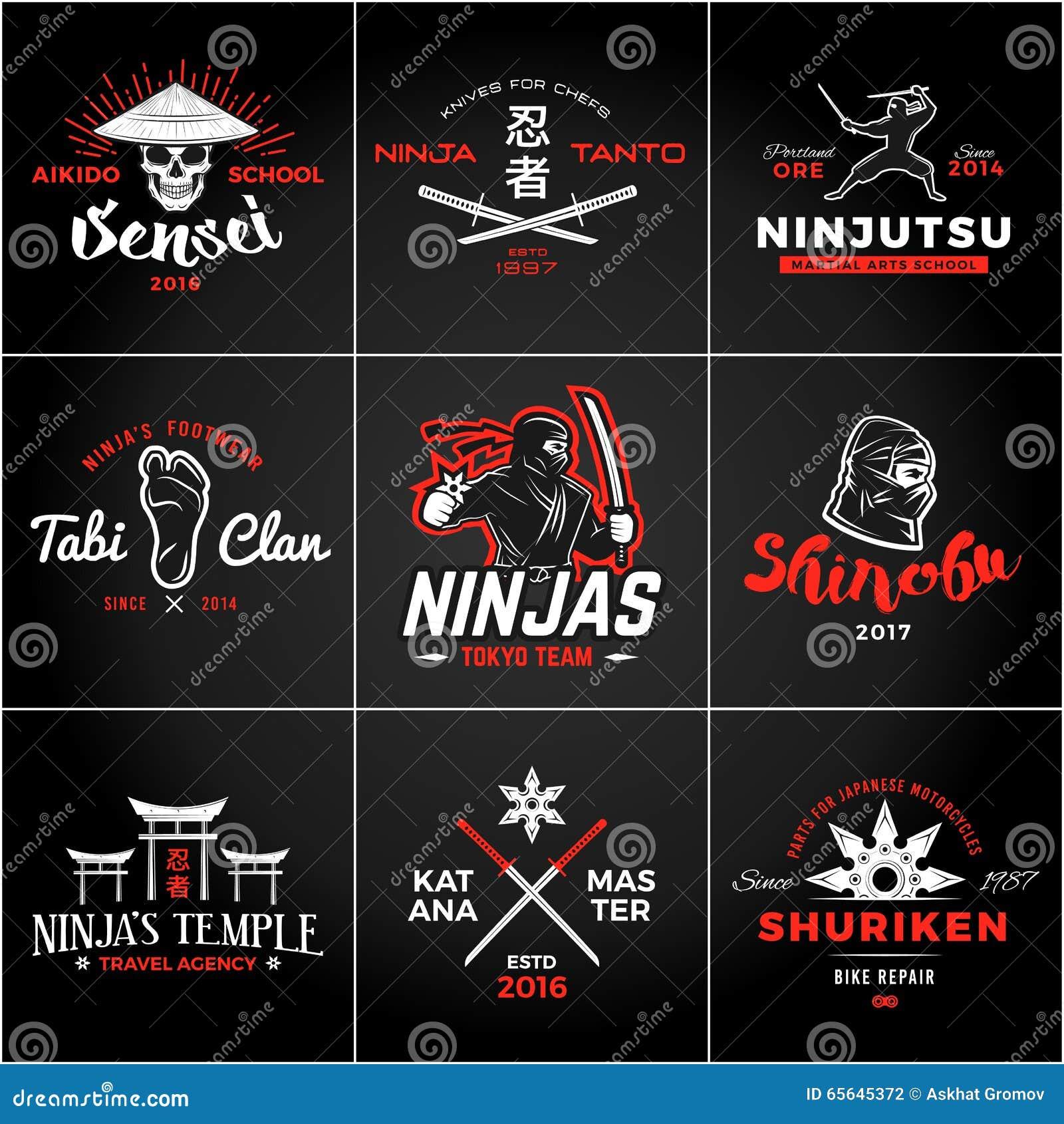 T shirt japanese design - Set Of Japan Ninjas Logo Katana Weapon Insignia Design Vintage Ninja Mascot Badge