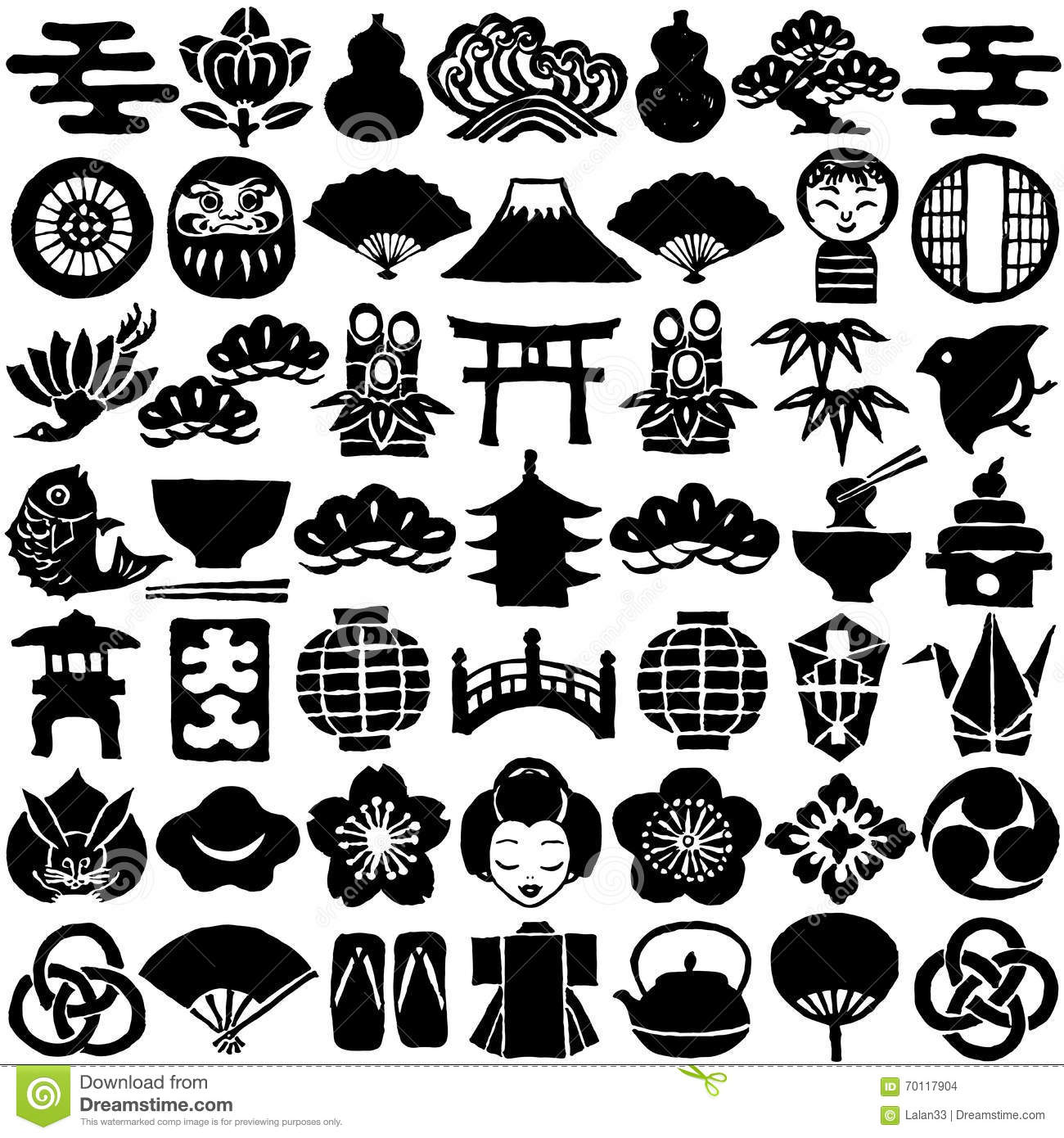 japanese design icons. stock vector - image: 64663045