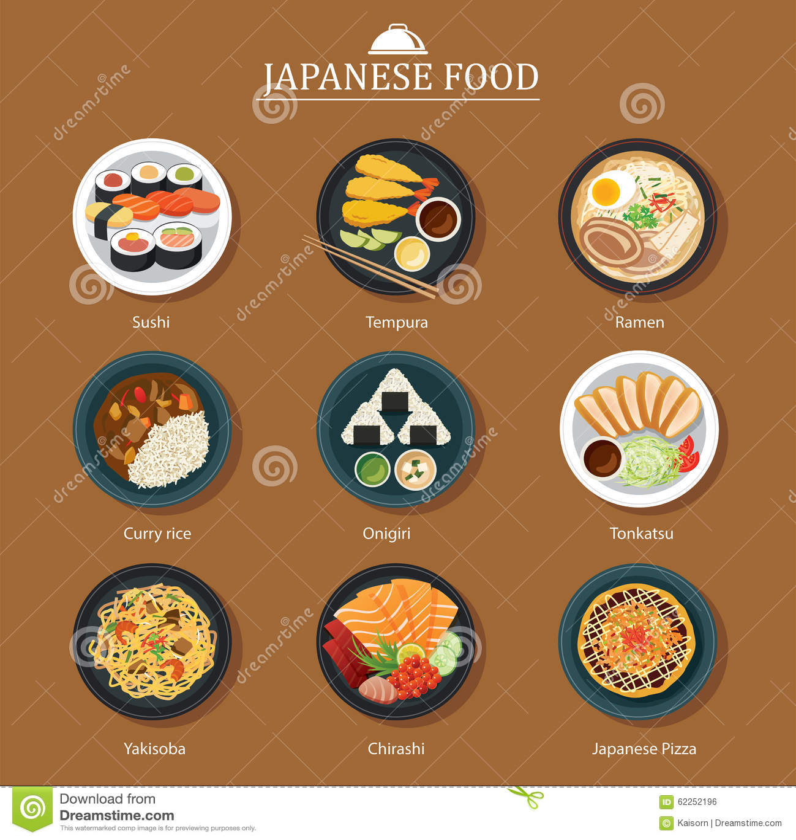 design flat food japanese ...