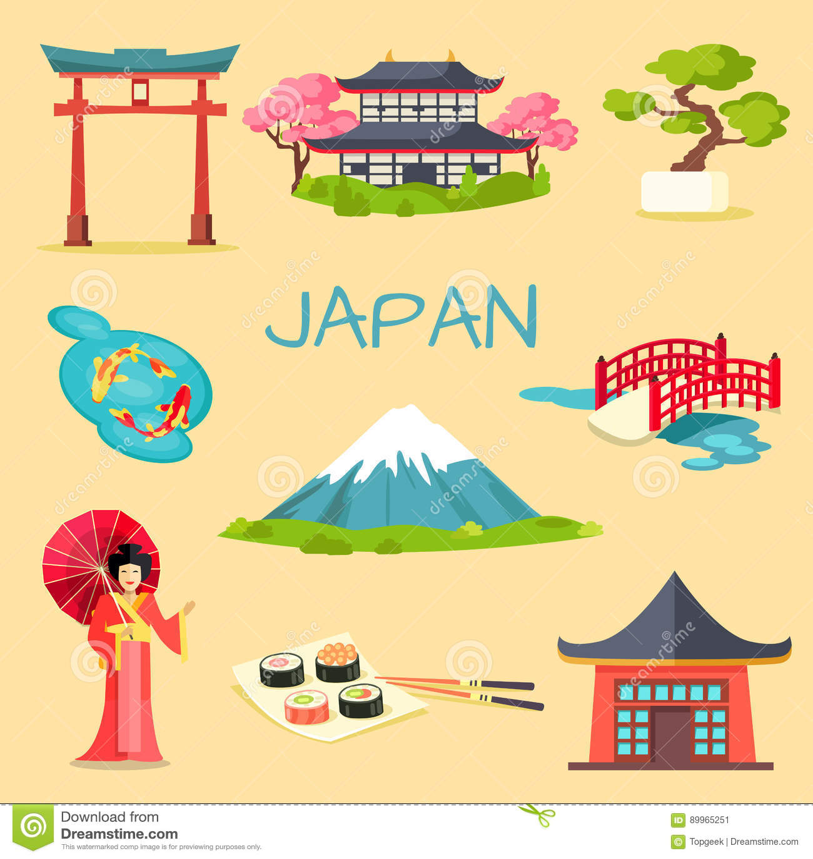 Set Of Japanese National Symbols Vectors Stock Vector
