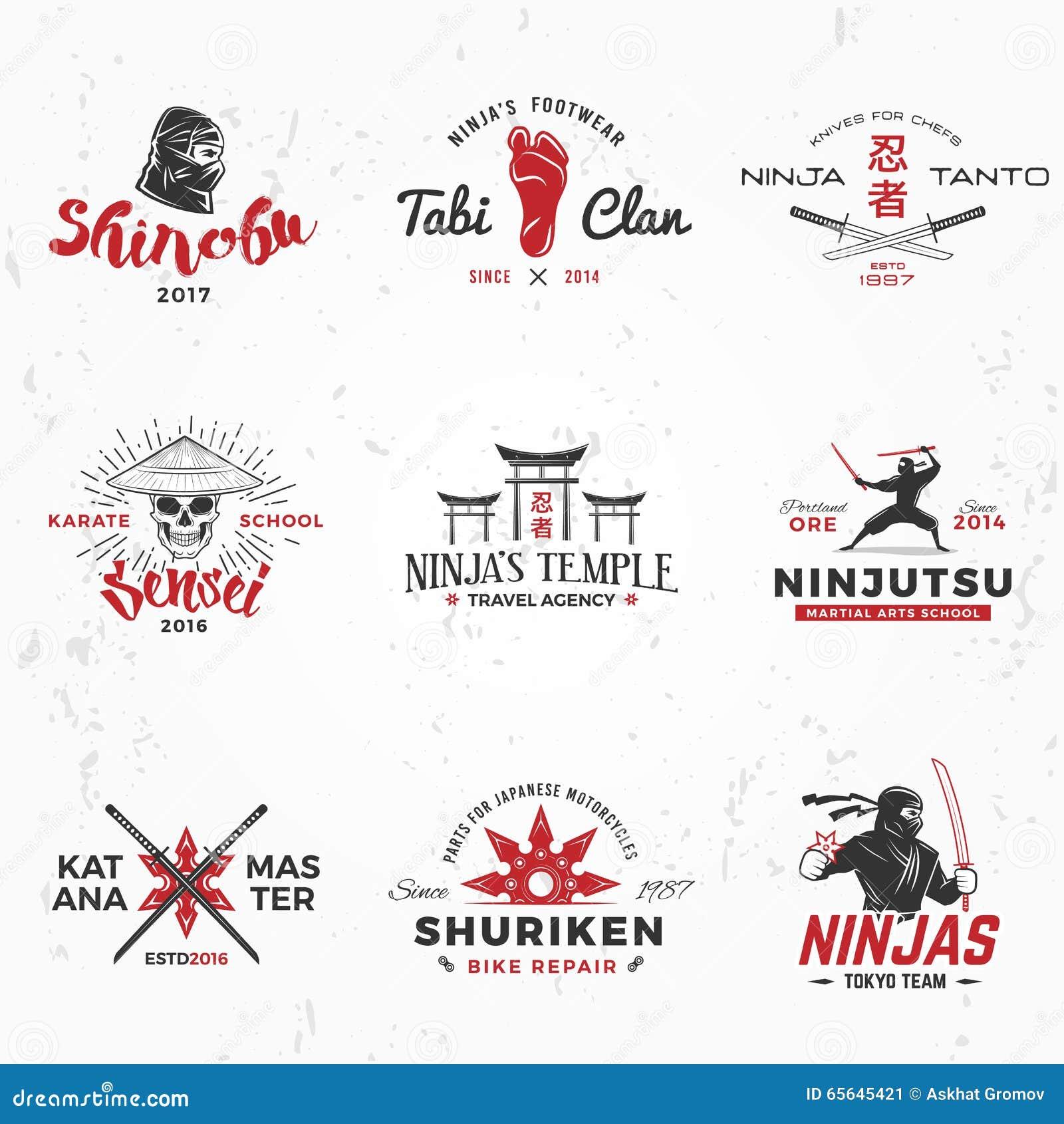 Design shirt japan - Set Of Japanese Ninjas Logo Katana Master Insignia Design Vintage Ninja Mascot Badge