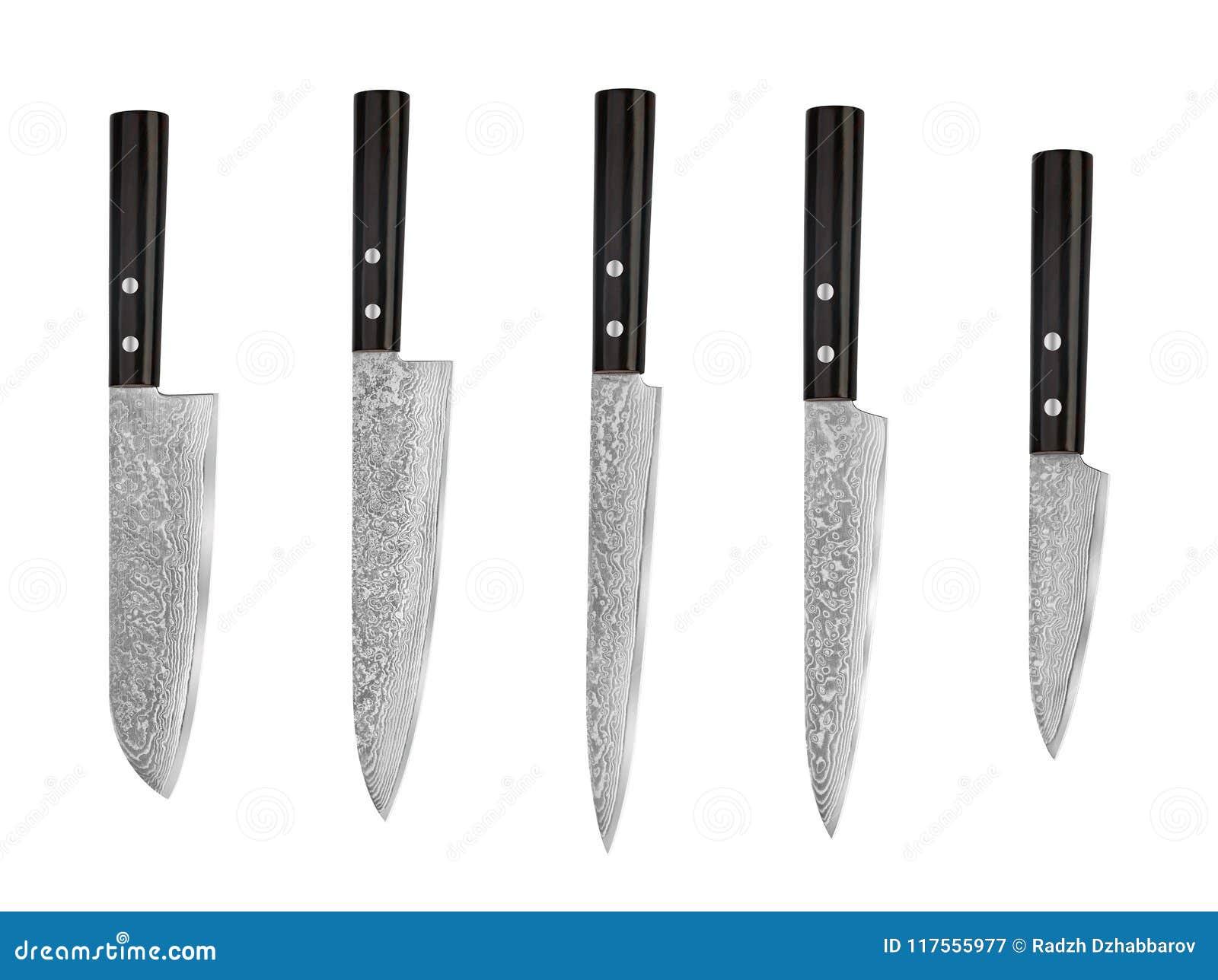 Set Of Japanese Steel Kitchen Knives Damascus Isolated On White