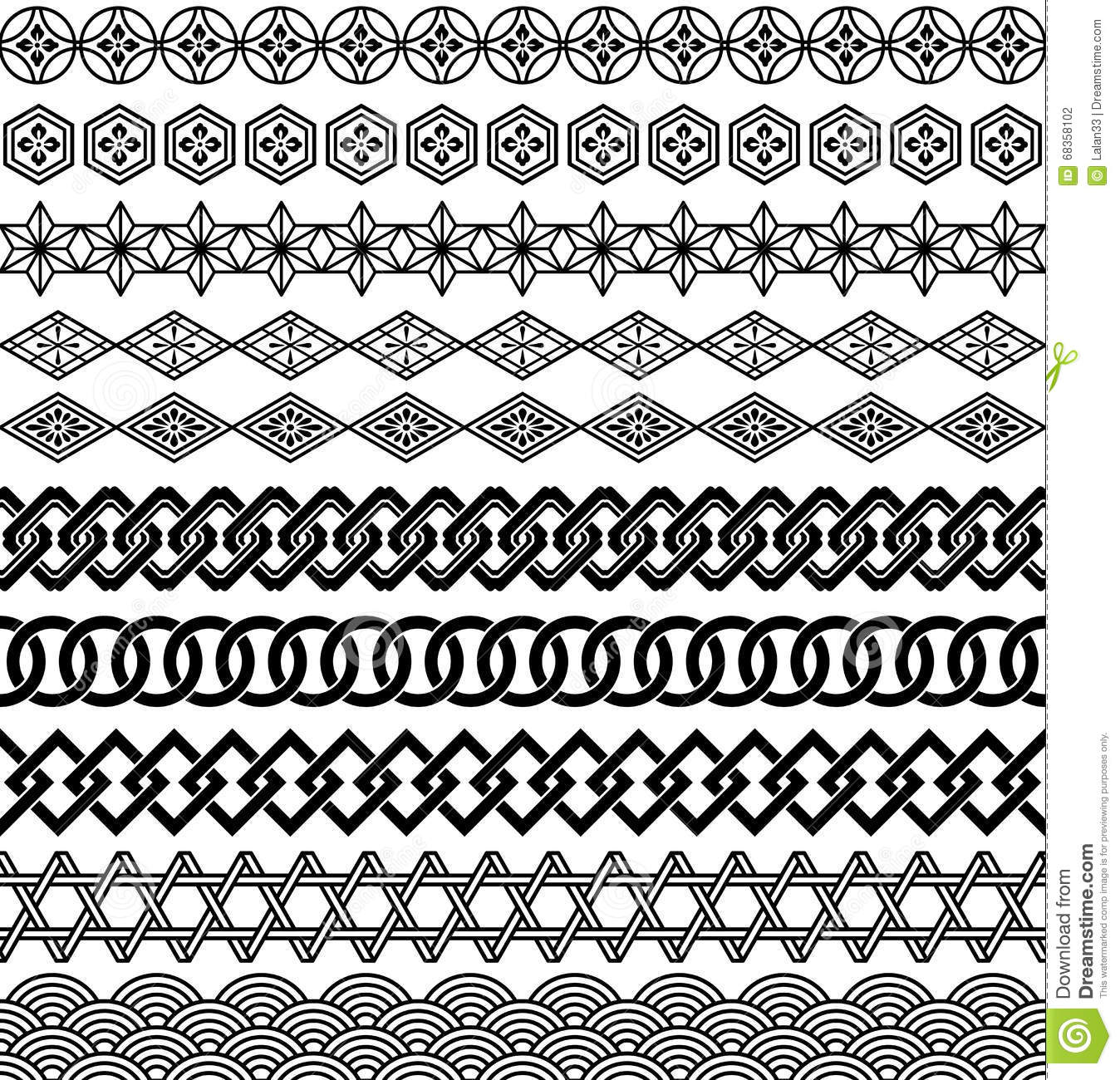 Set Of Japanese Style Borders Stock Vector Illustration Of