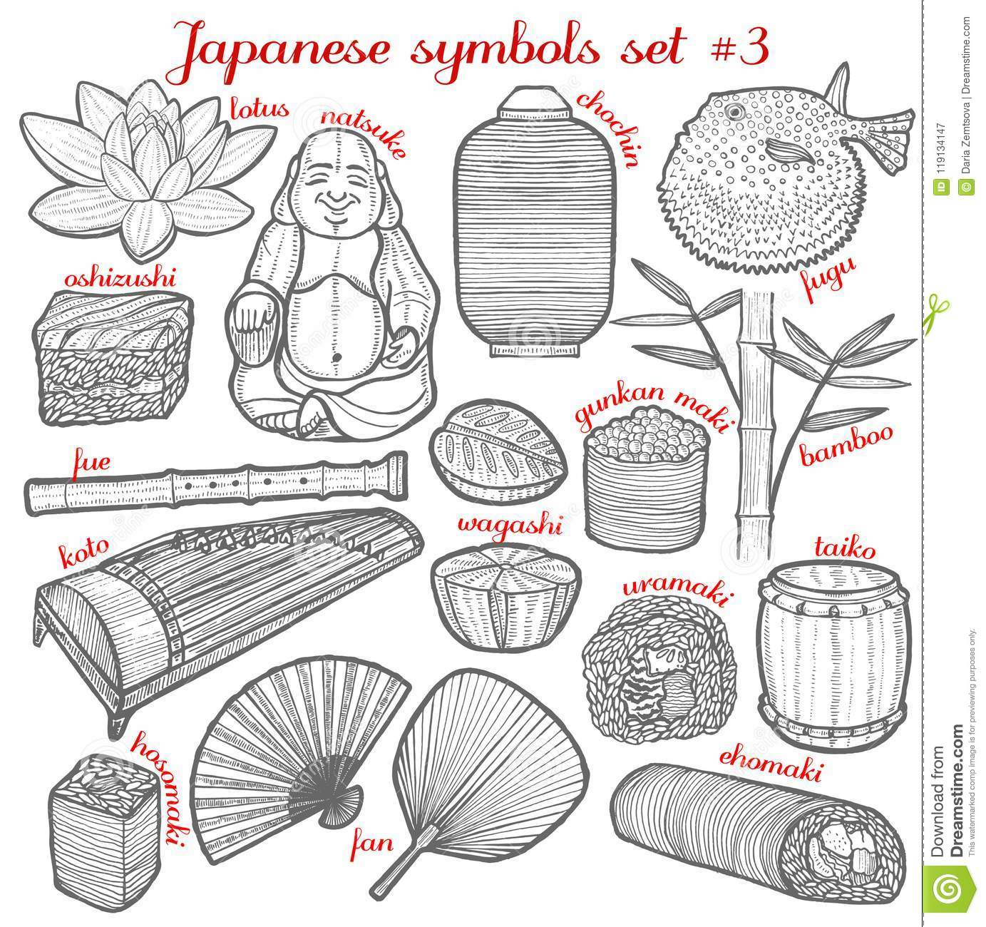 Set Of Japanese Symbols In Hand Drawn Style Stock Vector