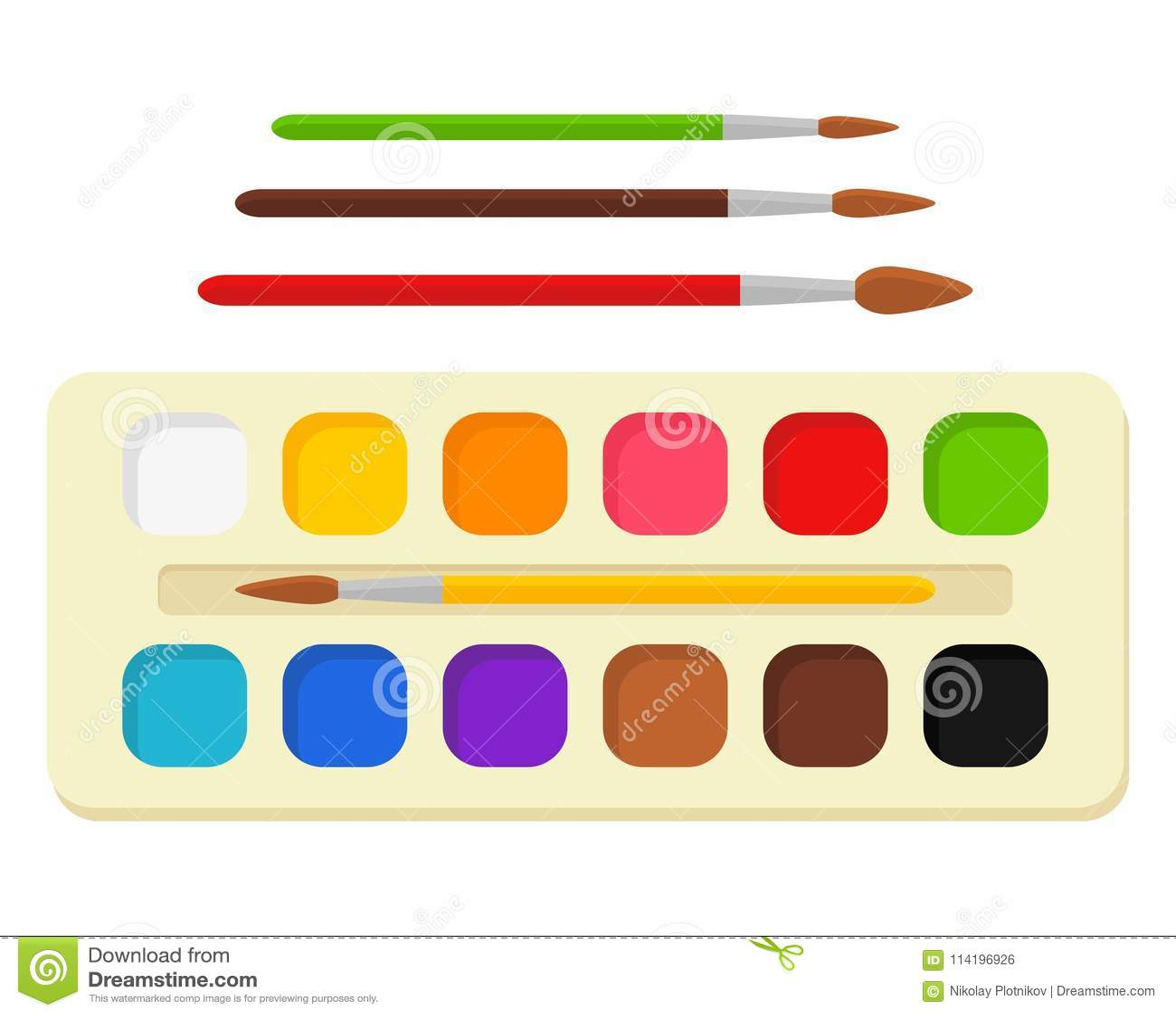 Set jaskrawa akwarela maluje w pudełku z farb muśnięciami kolorowa paleta Narzędzia i akcesoria dla projektanta