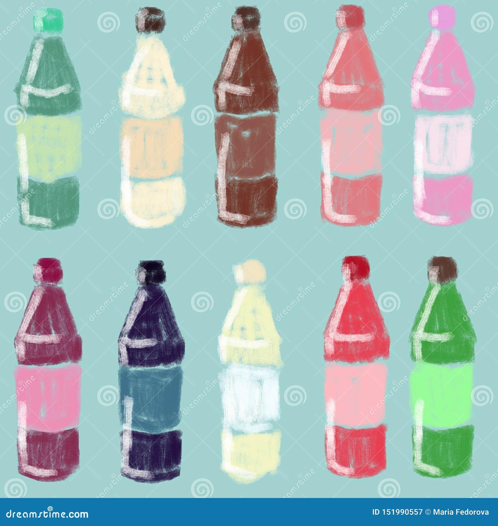 Set jaskrawe butelki z sokiem, syrop Szklani zbiorniki