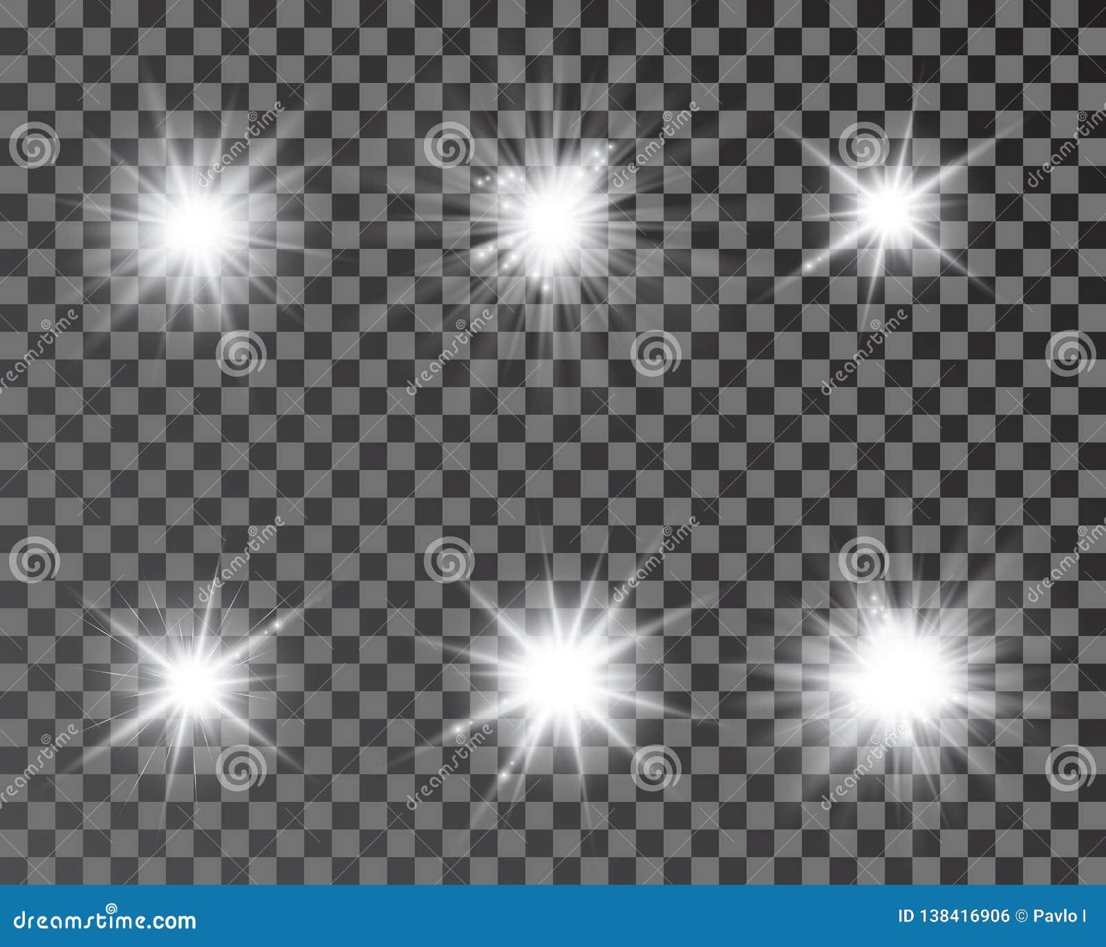 Set jaskrawe piękne gwiazdy E Lekki skutek, jaskrawa gwiazda, lekki raca