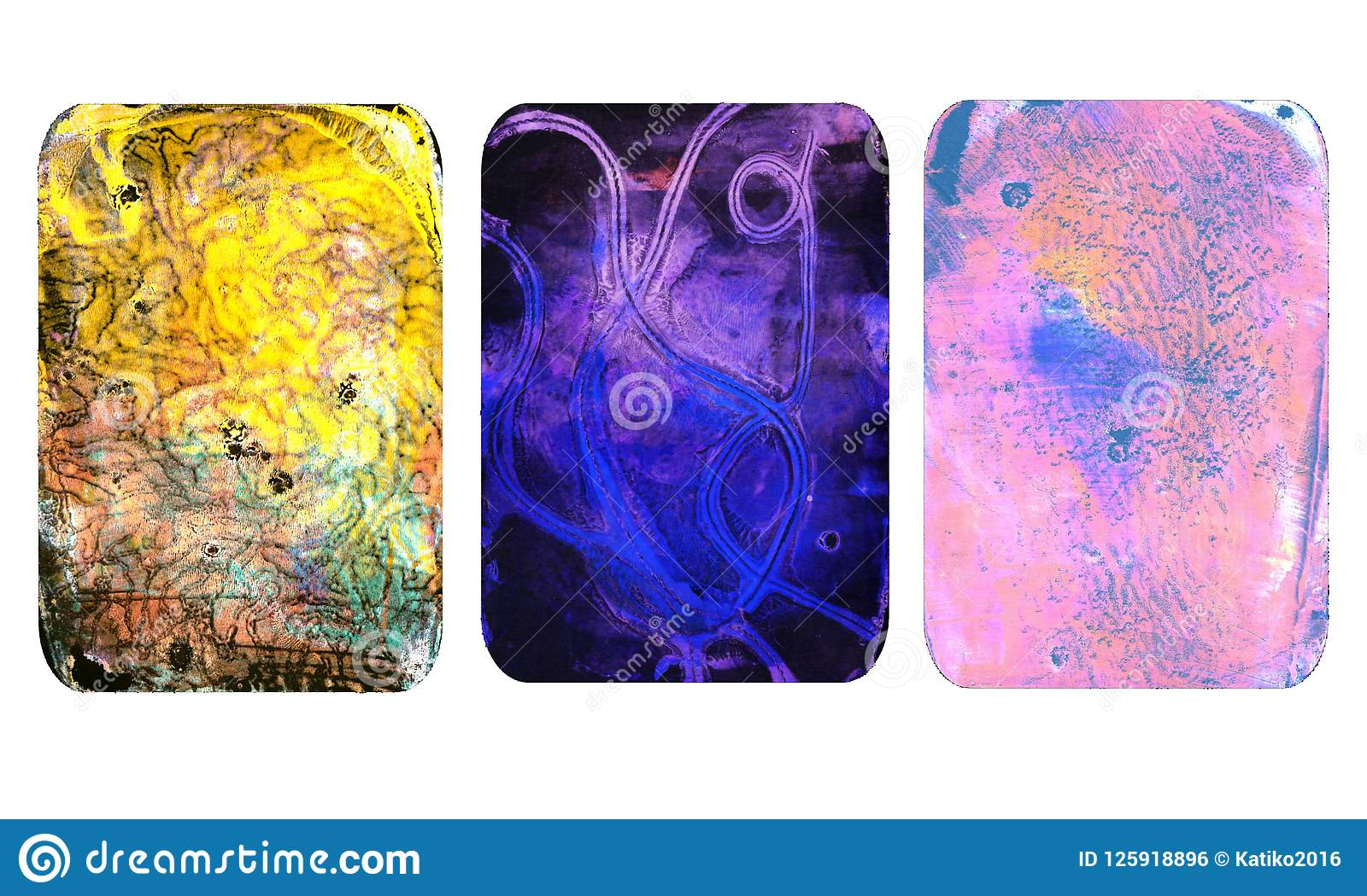 Set jaskrawe zamazane abstrakcjonistyczne tekstury Kolorowi handmade tła z odciskami, plamy, scuffed tereny