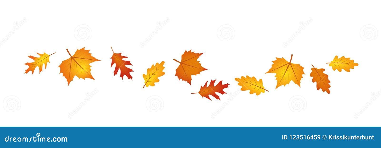 Set jesień liście w wiatrze