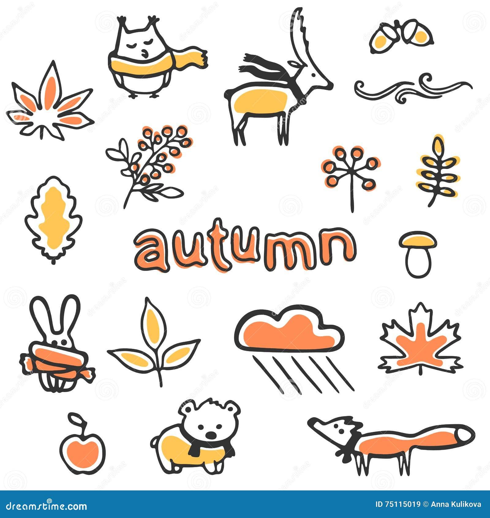 Set jesieni ilustracje Wektorowi zwierzęta i rośliny