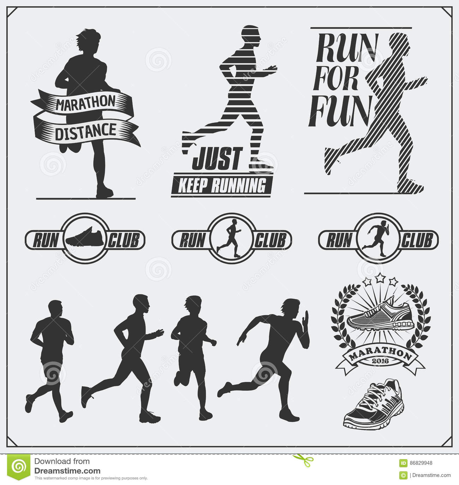 Set jogging i biegać klub etykietki, emblematy i projektów elementy Sylwetki biegacze