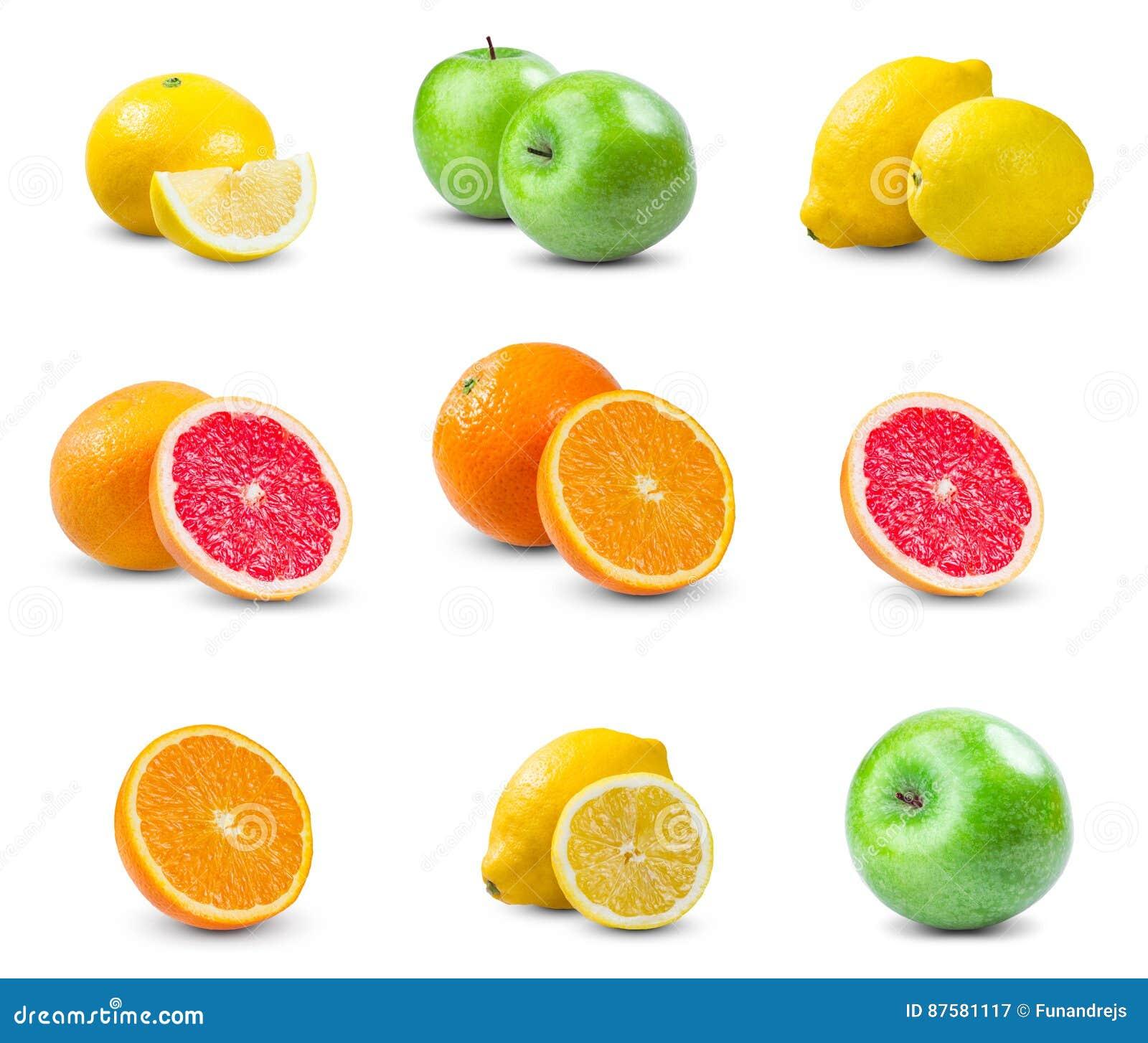 set of juicy fruits orange lemon grapefruit green apple rich