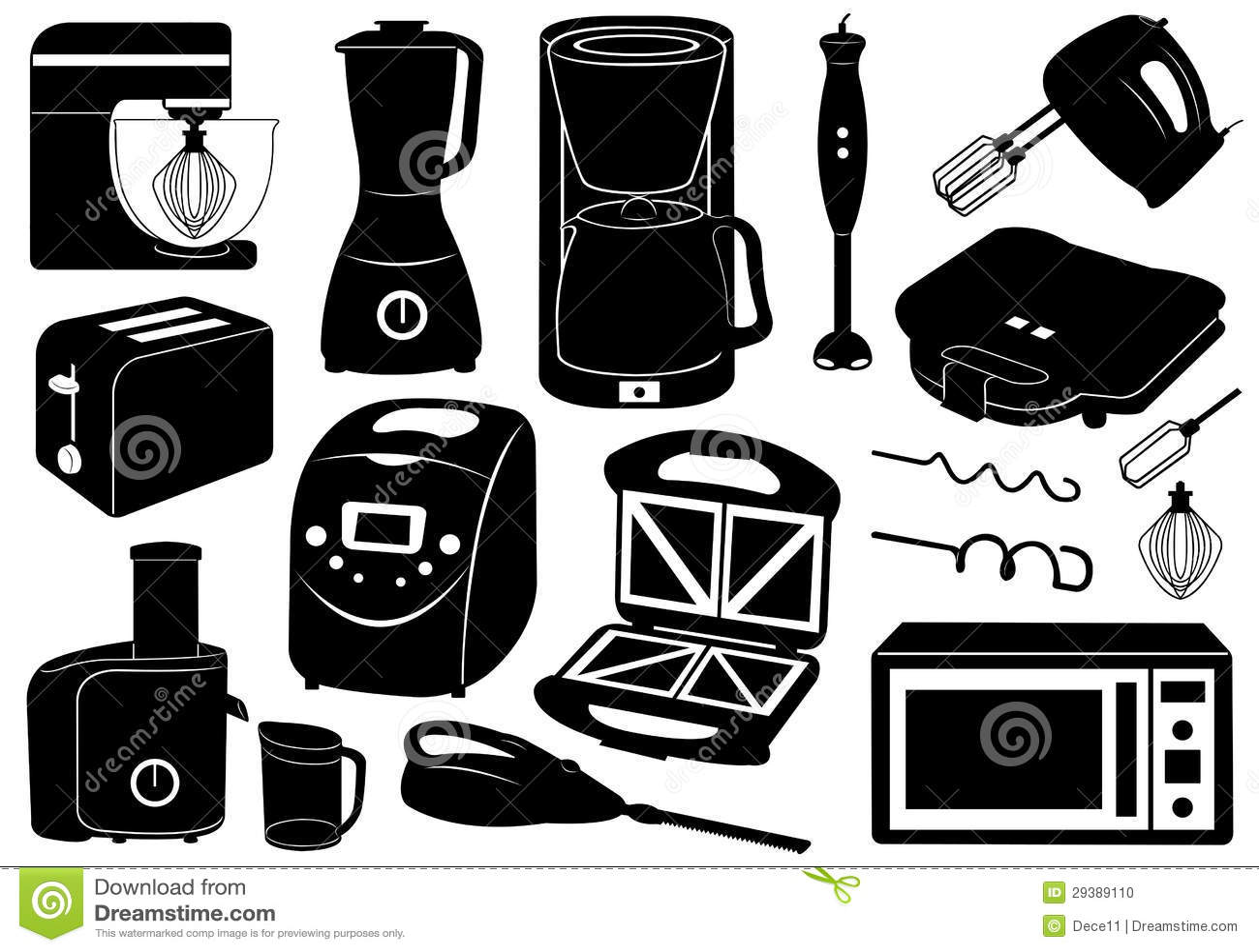 Set Küchengeräte vektor abbildung. Illustration von küche - 29389110