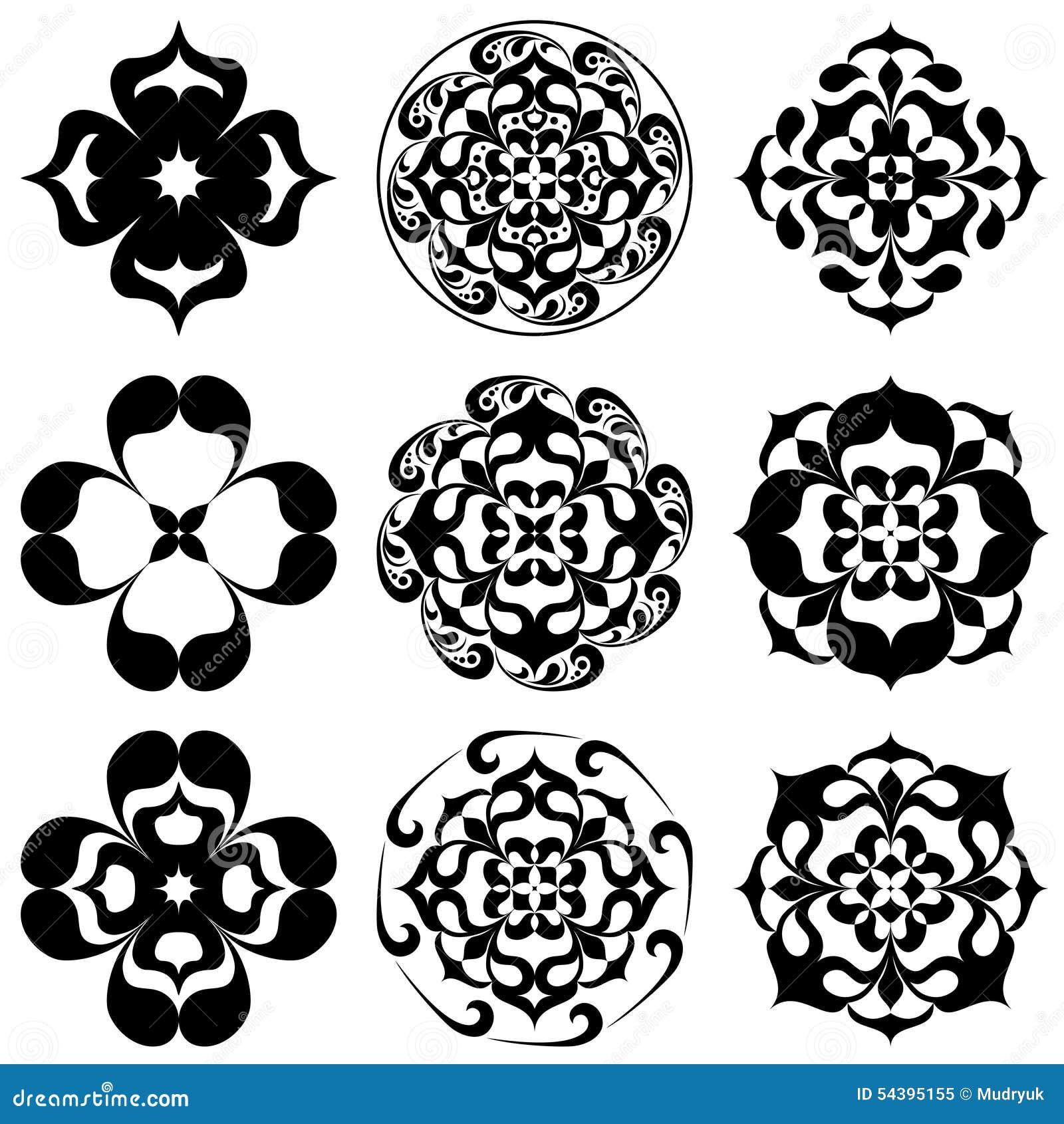 Set Of Kaleidoscopic Floral Tatoo Mandala In Black And