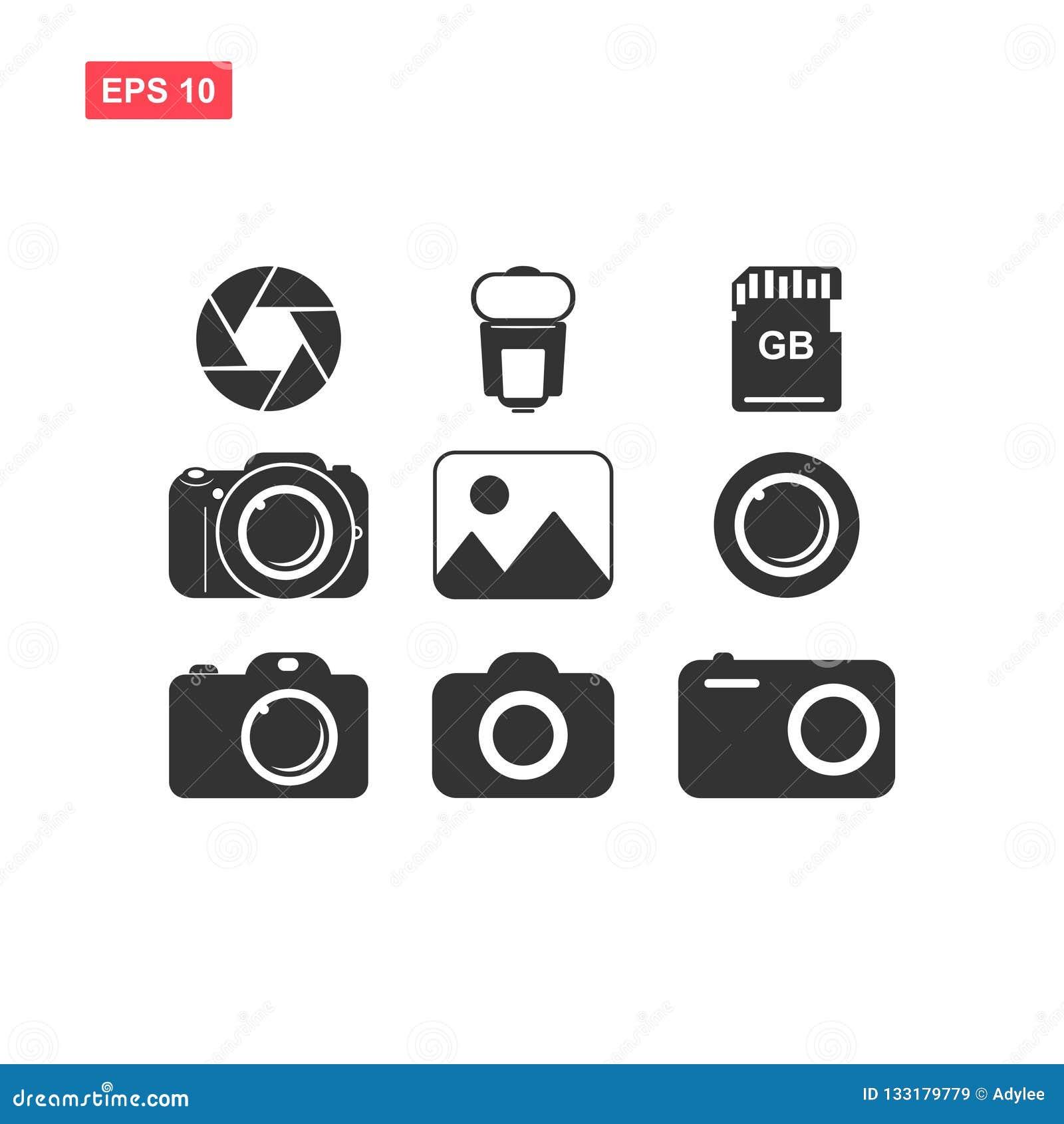 Set Of Kamera Image Flash Diafragma Lens And Memory Vector I