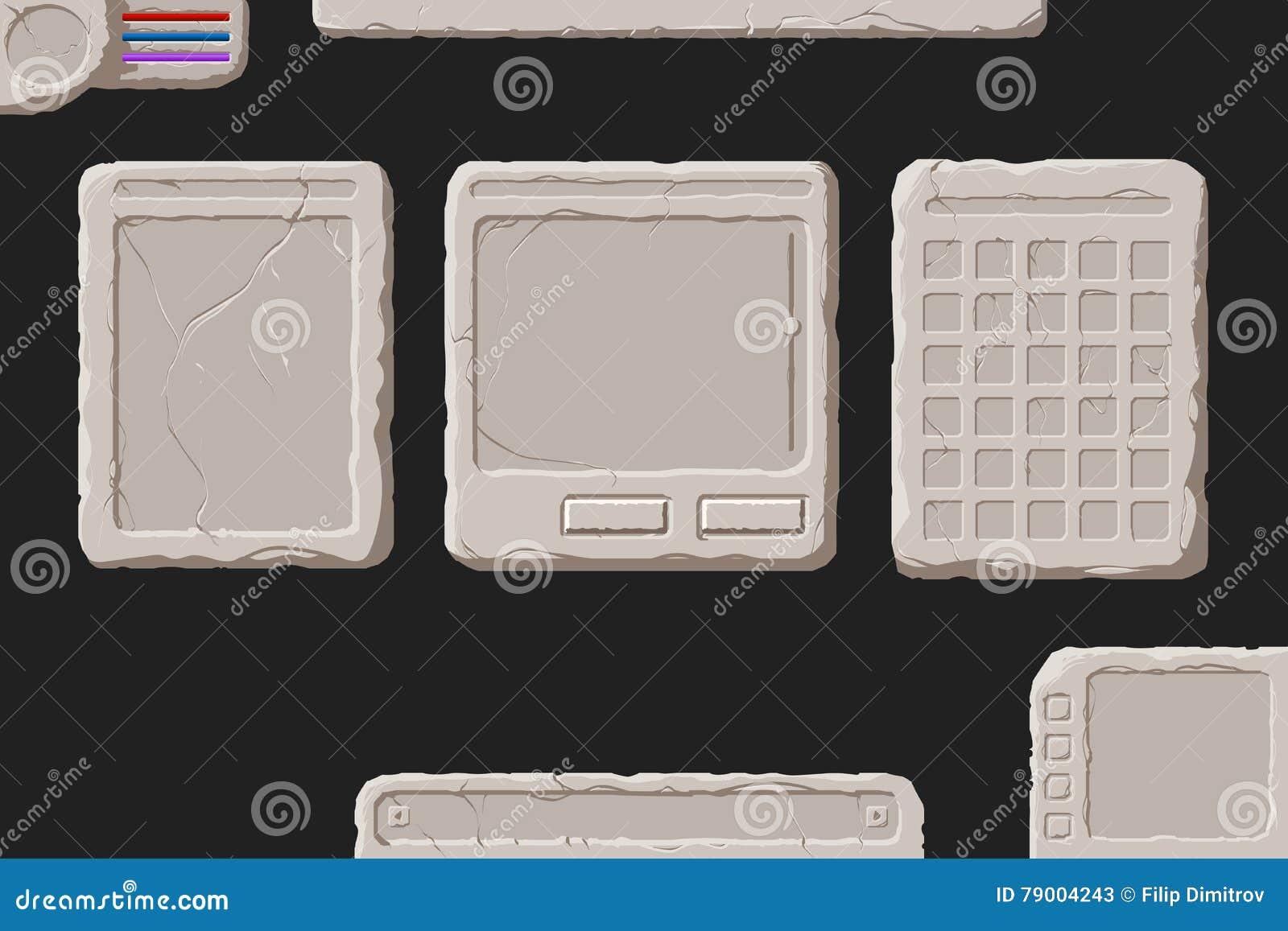 Set kamienni interfejsów elementy