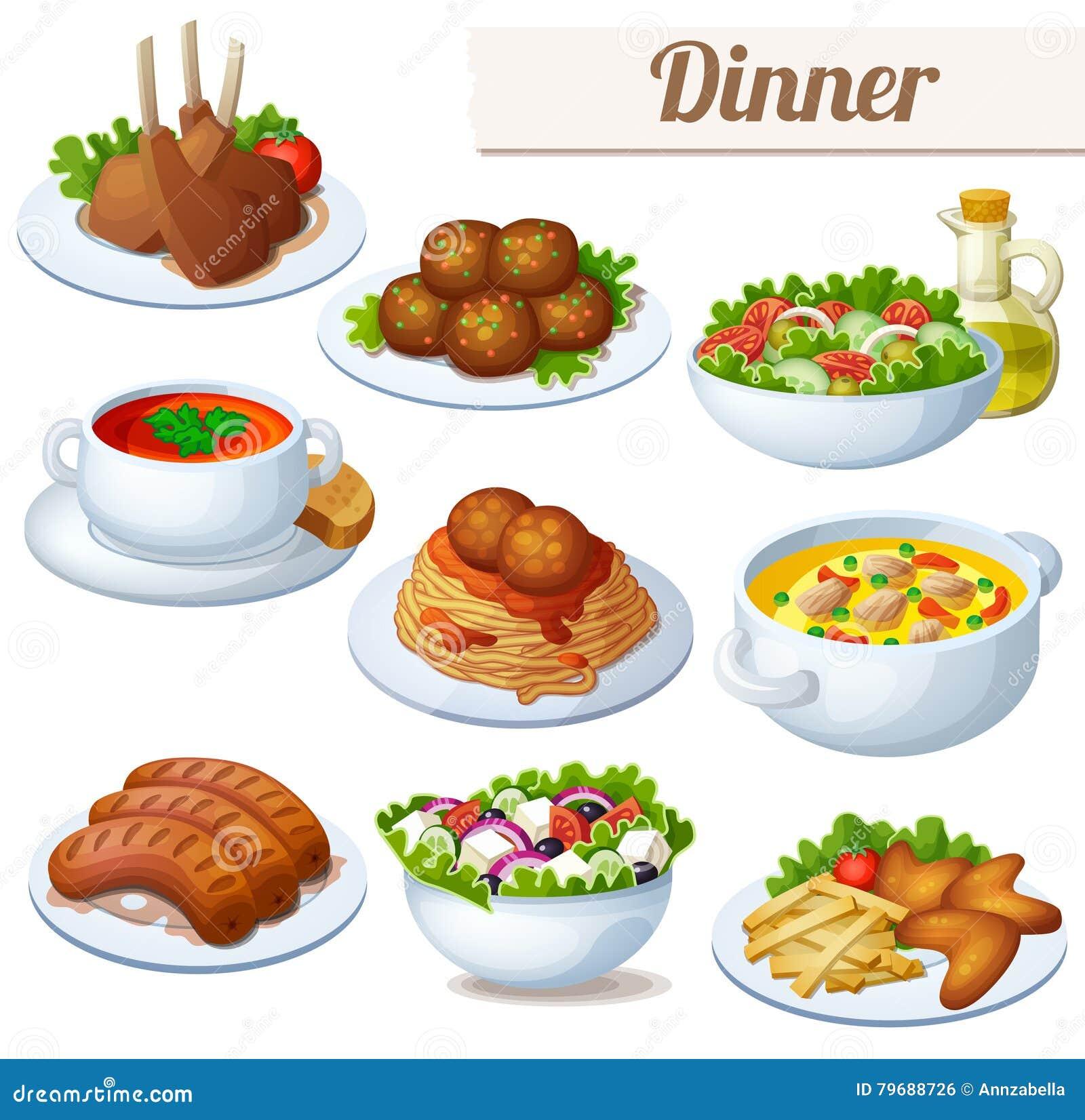 Set karmowe ikony odizolowywać na białym tle dinner