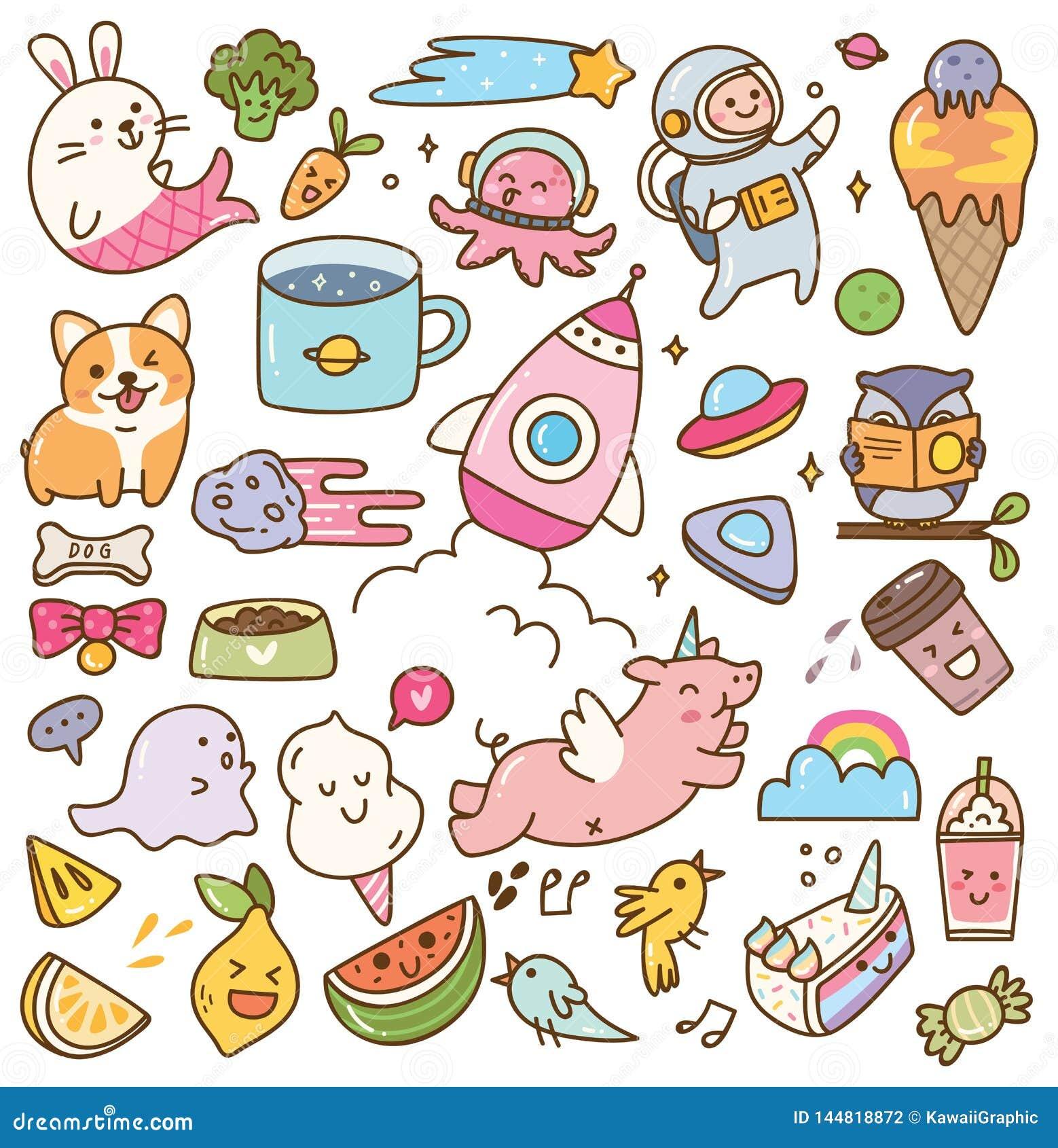 Set of kawaii doodles design element