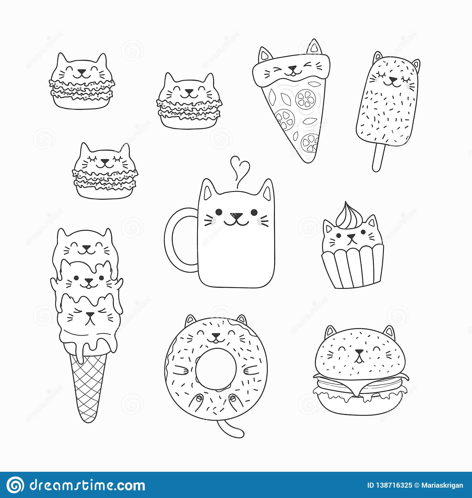 Kawaii Cats Food Coloring Pages Stock Vector Illustration Of Book Contour 138716325