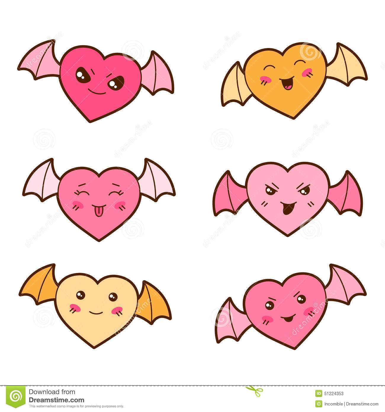 Set of kawaii hearts with different facial stock vector for Immagini disegni kawaii
