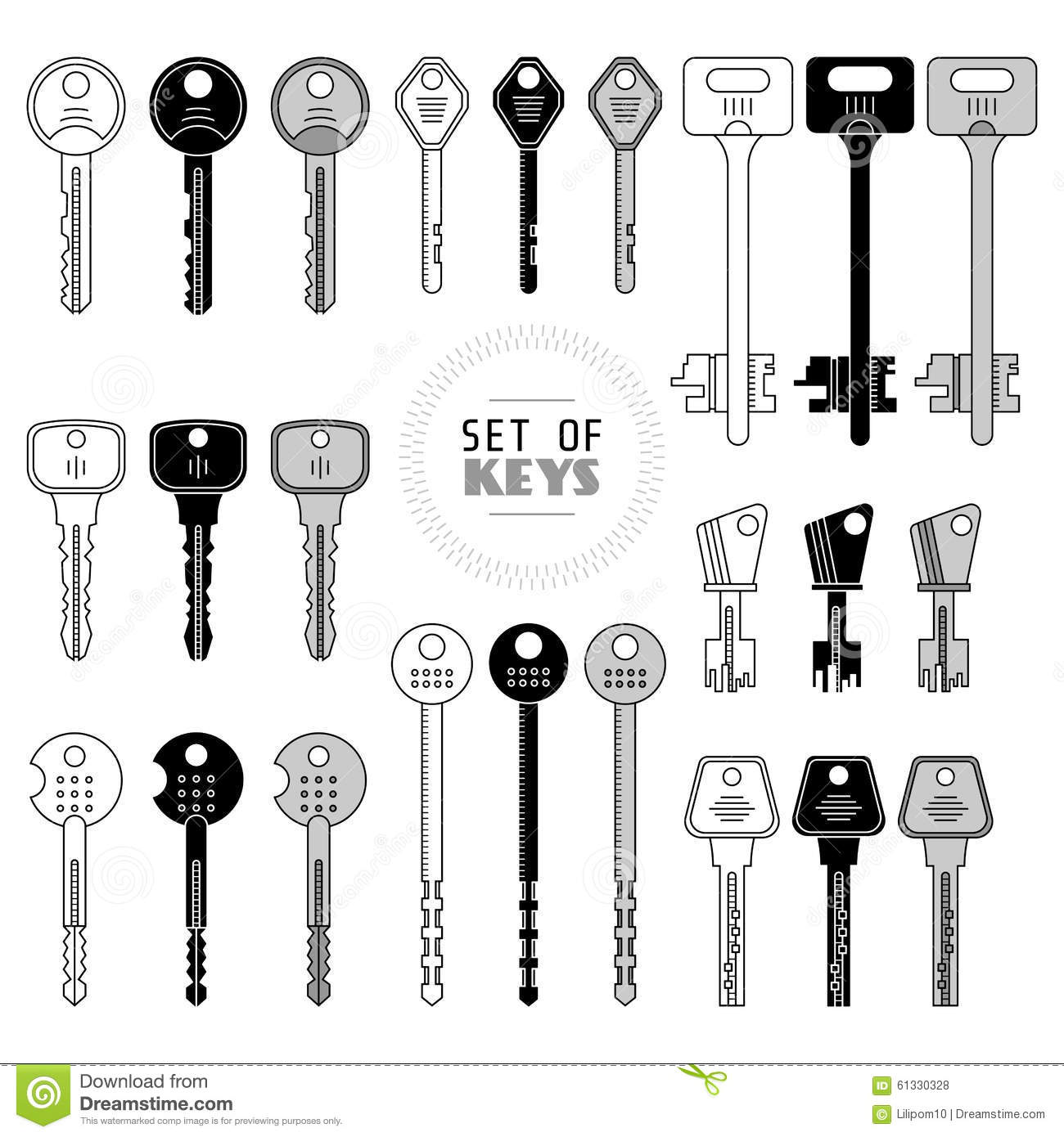 set of keys stock vector  illustration of object  house