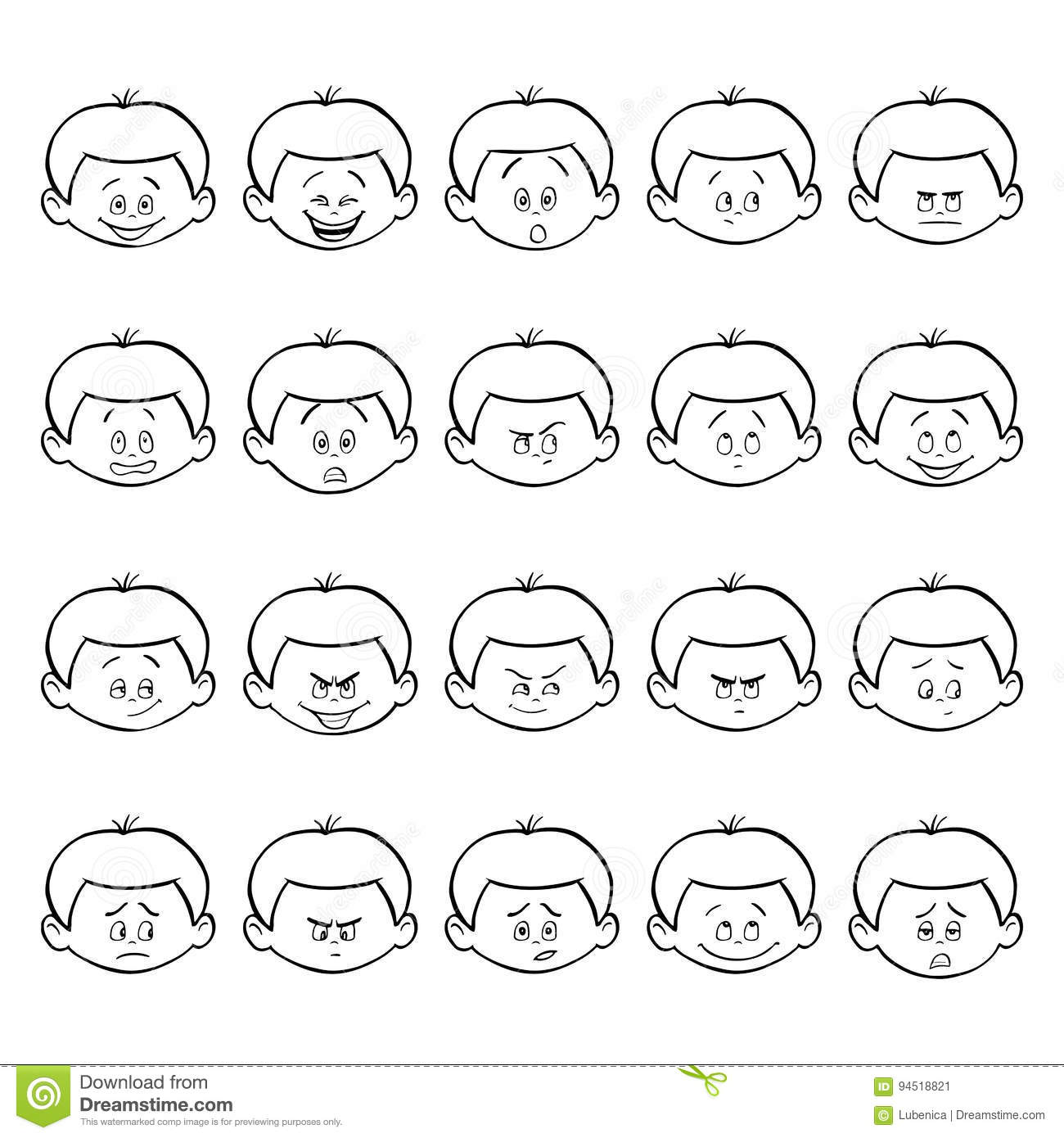 cartoon face emotions hand drawn set stock vector