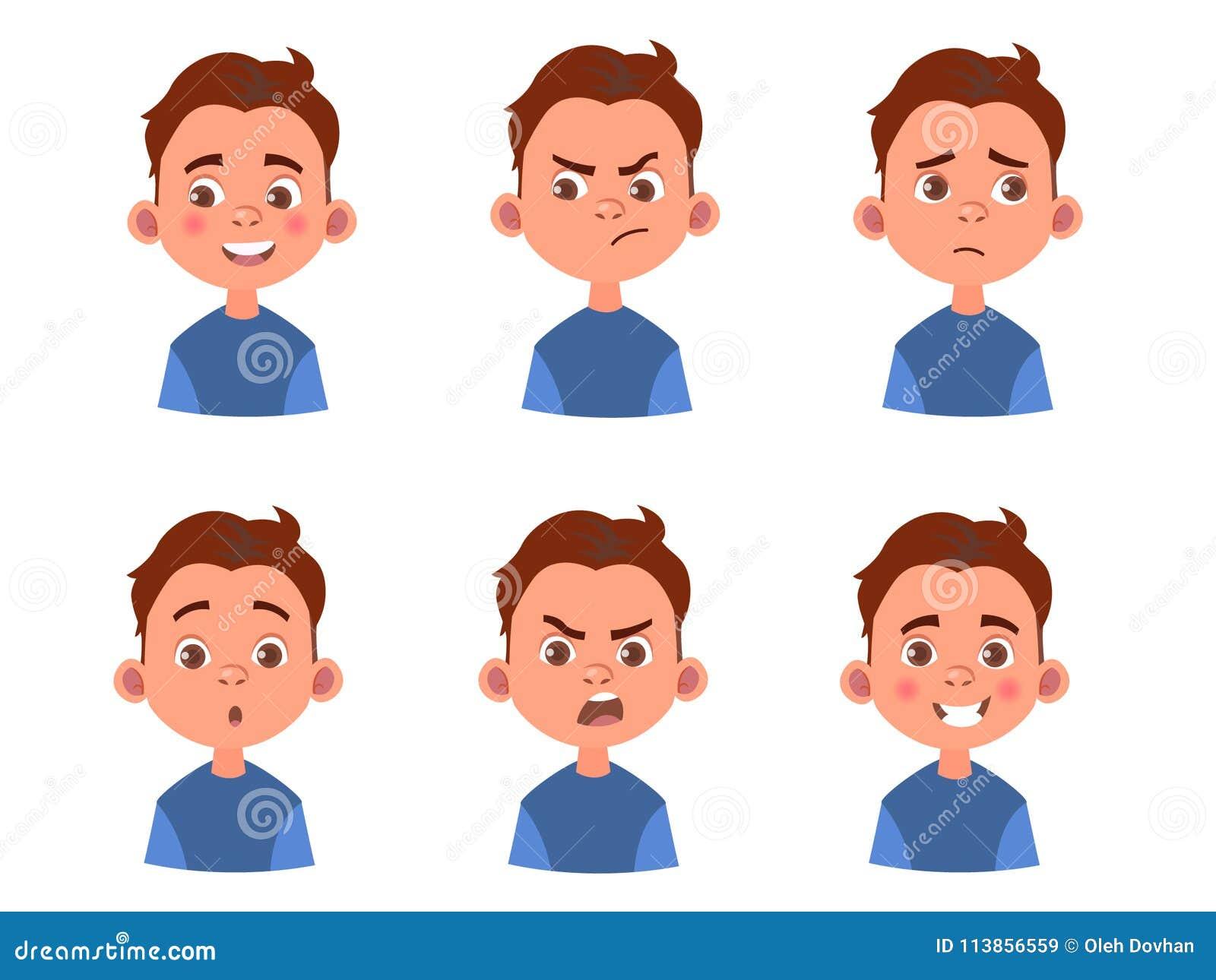 Set Of Cartoon Childrens Faces Stock Vector Art More: Set Of Kid`s Emotions. Facial Expression. Cartoon Boy